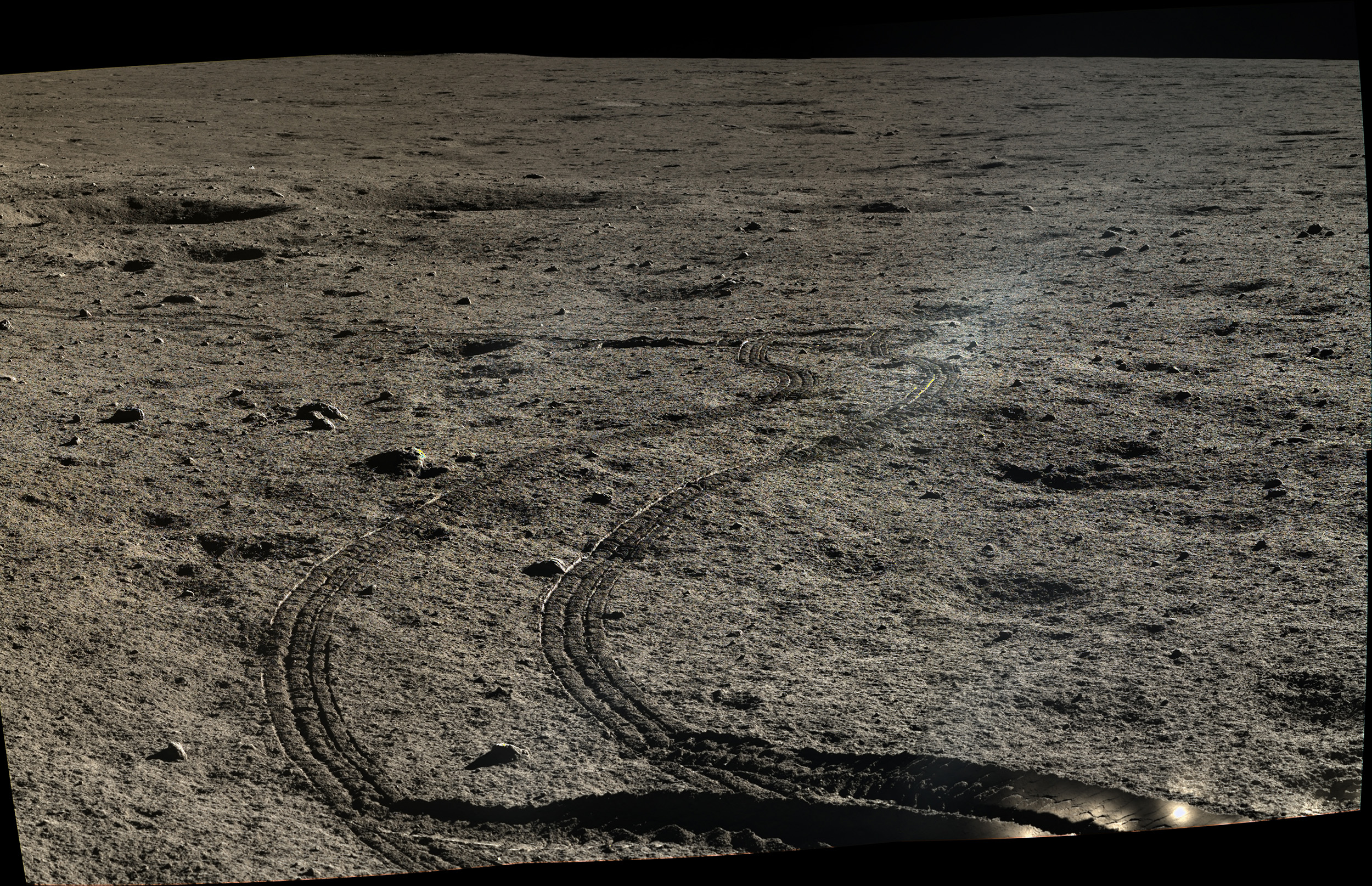 Yutu's wheels tracks in the lunar soil. The images for this mosaic were taken on Jan. 12, 2014.