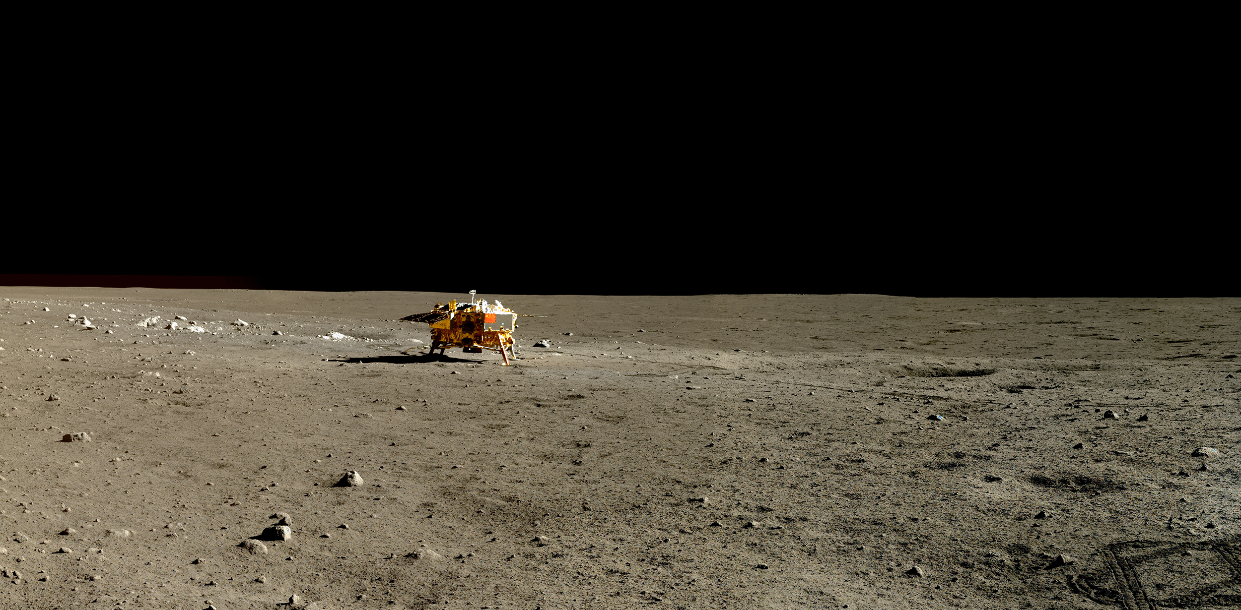 The Yutu rover took the images for this panorama on Jan. 13, 2014, during the rover's second lunar day on the surface, while close to  Pyramid Rock.