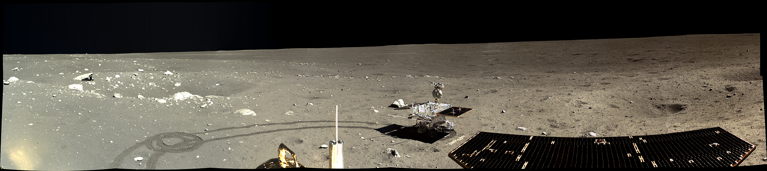 Part of a full 360-degree panorama taken by the Chang'e 3 lander on Dec. 17, 2013, three days after landing.