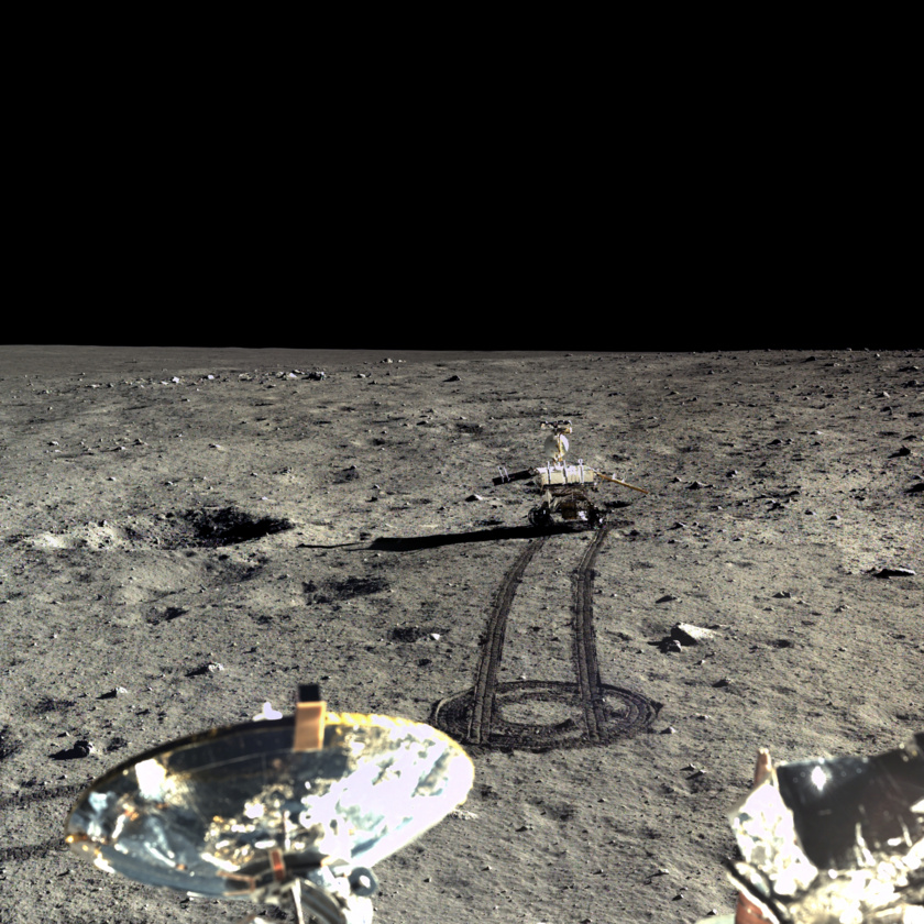 The Chang'e 3 lander captured the four images for this mosaic of the Yutu rover driving southward on Dec. 23, 2013.