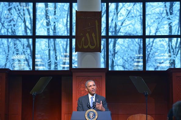 U.S. President Barack Obama speaks at the Islamic Society of Baltimore, in Windsor Mill, Maryland on Feb. 3, 2016.