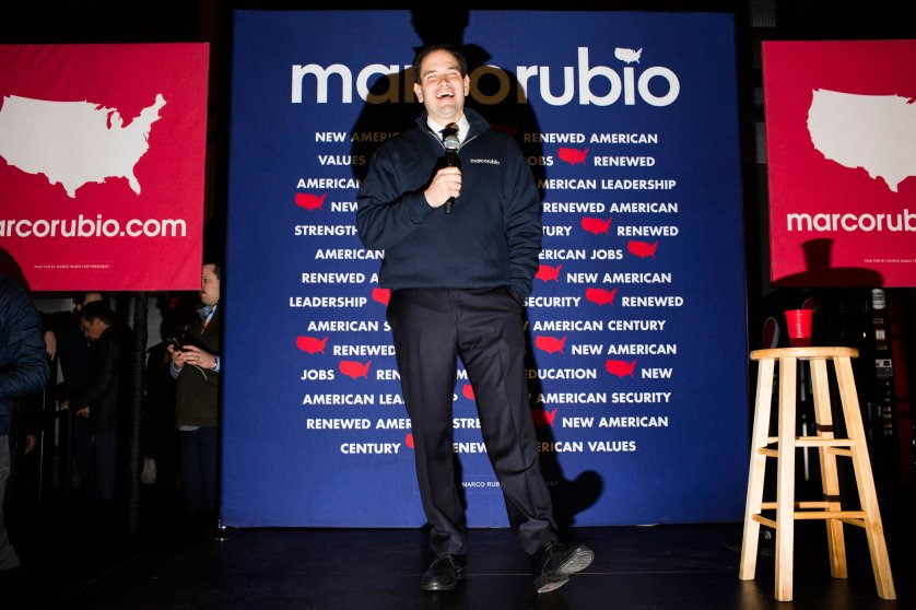 Republican presidential candidate, Florida. Sen. Marco Rubio speaks to attendees during a campaign event at the Allard Center on Feb. 7, 2016, in Manchester, N.H.