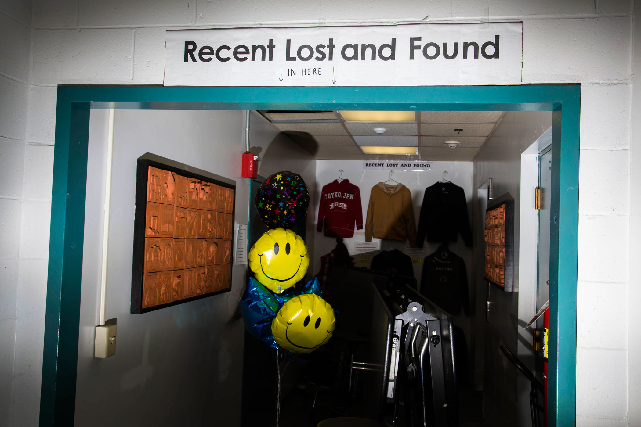 A lost and found at Hampton Academy, where New Jersey Gov. Chris Christie held a campaign event on Feb. 7, 2016, in Hampton, N.H.