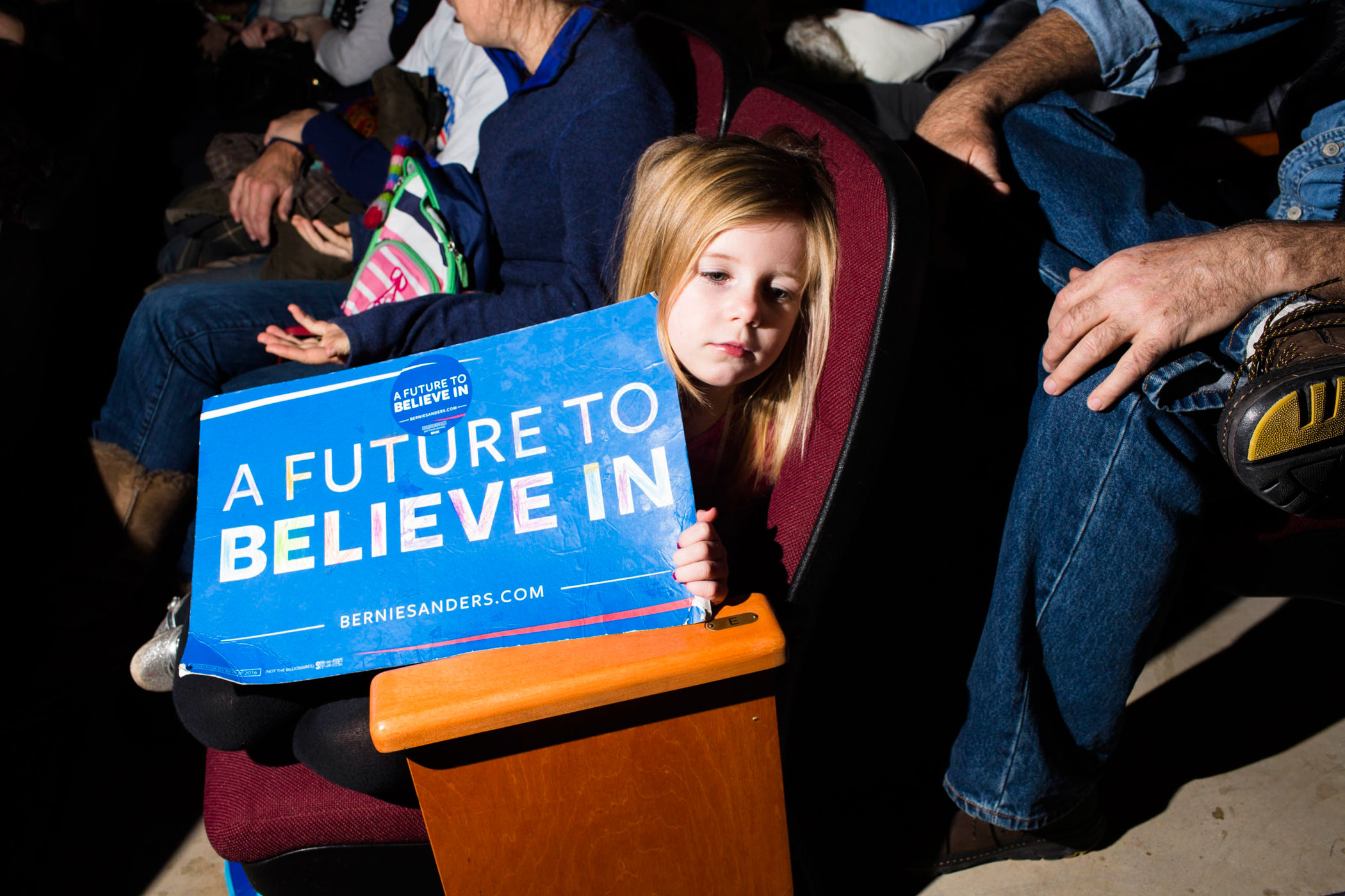 Supporters of Vermont Sen. Bernie Sanders attend a campaign event at Pinkerton Academy on M Feb. 8, 2016, in Derry, N.H.