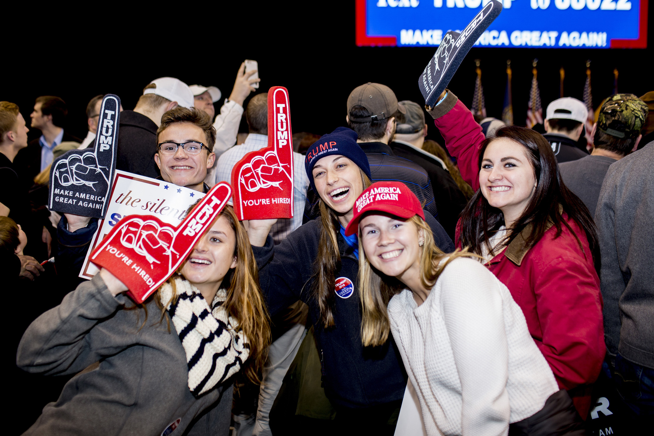 Supporters of Republican presidential candidate Donald Trump attend a rally at the the Verizon Arena on Feb. 9, 2016, in Manchester,  N.H.