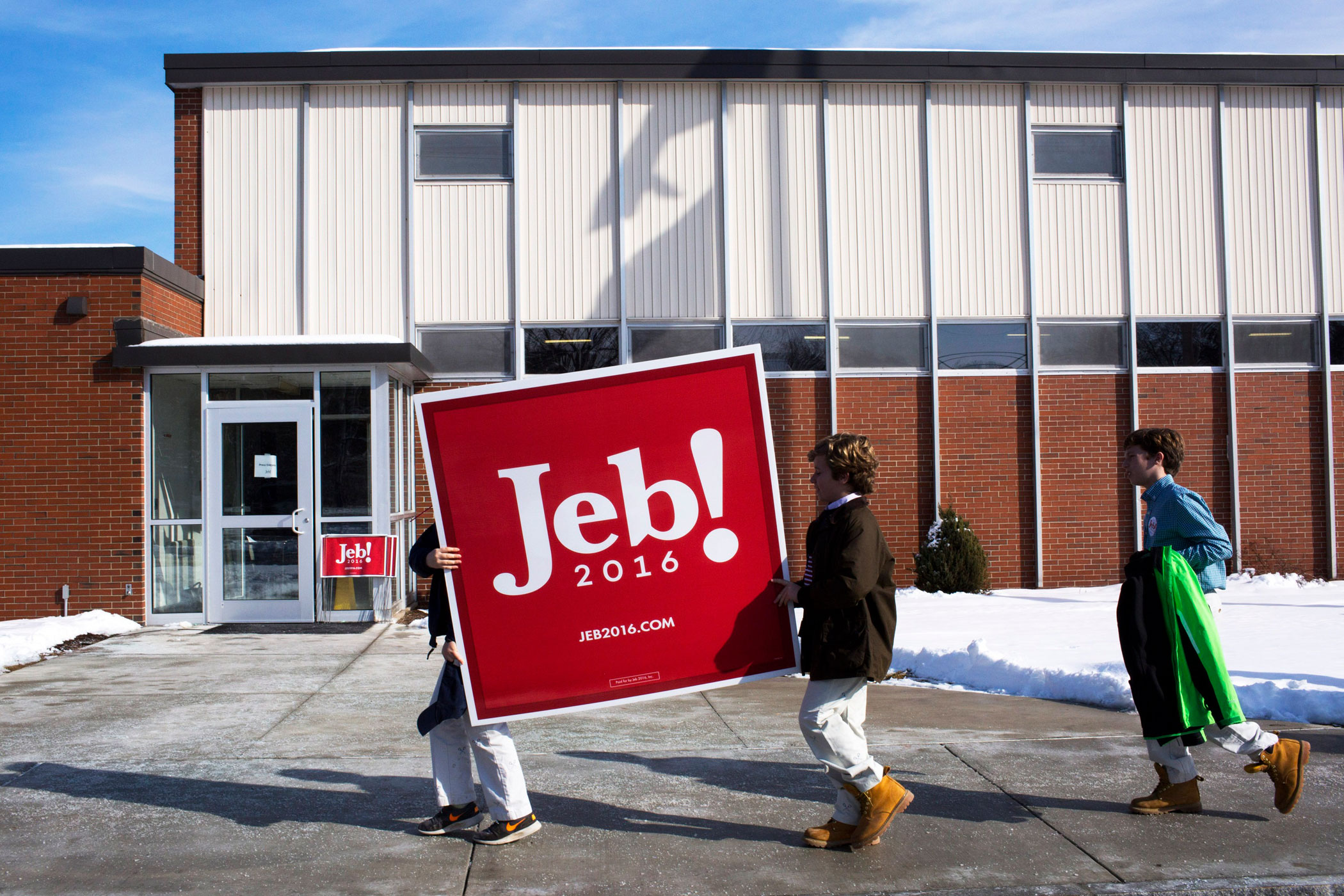Supporters of former Florida governor Jeb Bush attend a town-hall event at the McKelvie Intermediate School in Bedford, N.H., on Feb. 6, 2016.