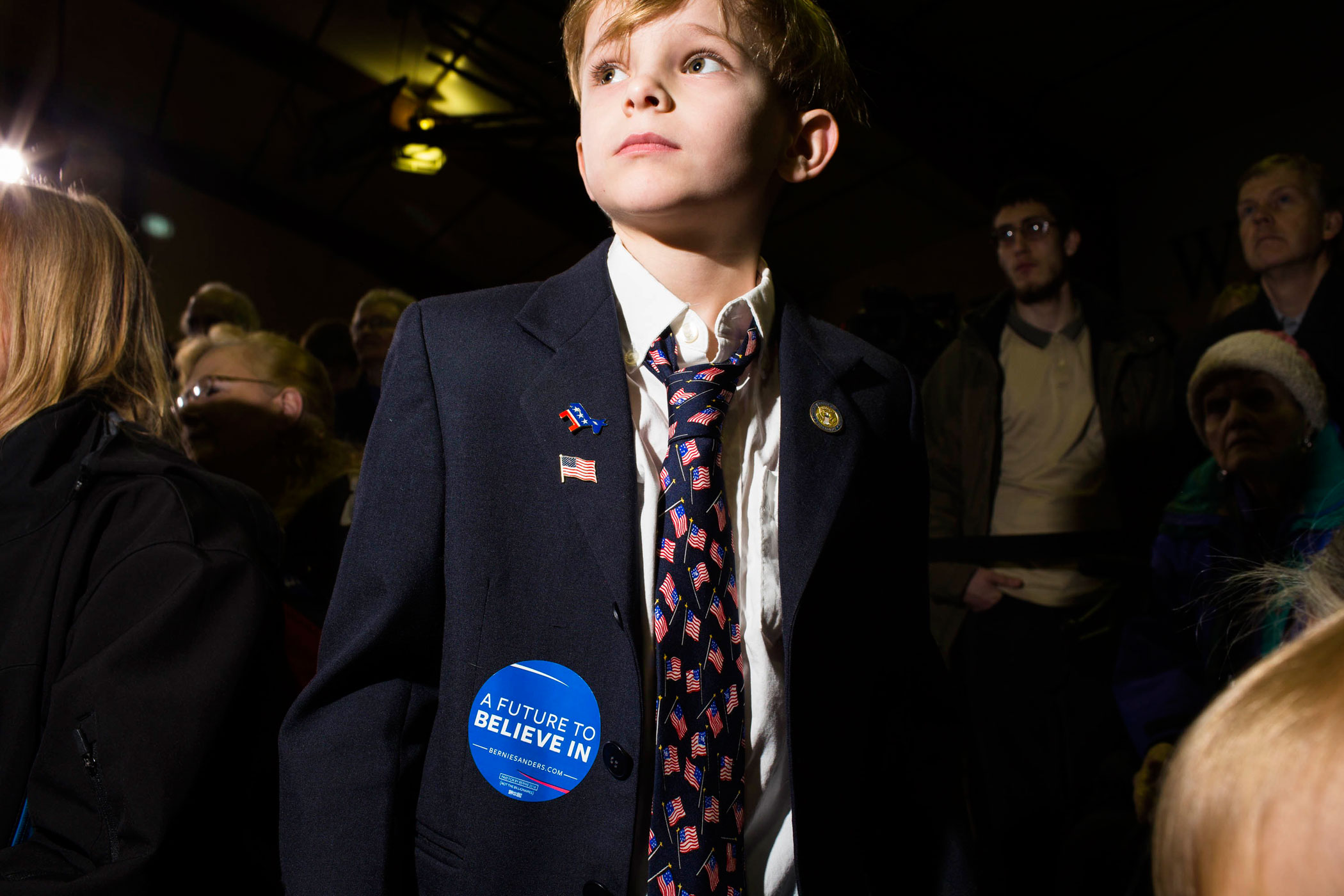 A young supporter of Vermont Sen. Bernie Sanders attends a  campaign event at Daniel Webster Community College on Feb. 8, 2016, in Nashua, N.H.