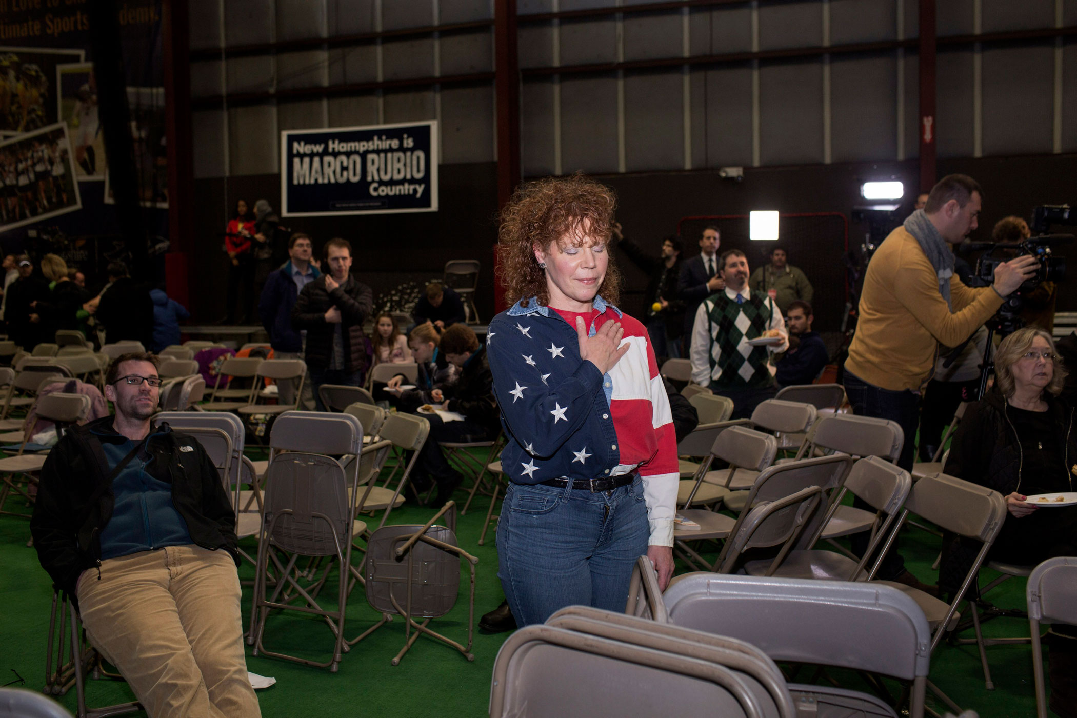 A supporter of Florida Sen. Marco Rubio attends a campaign event at the Ultimate Sports Academy in Manchester, N.H. on Feb. 7, 2016.