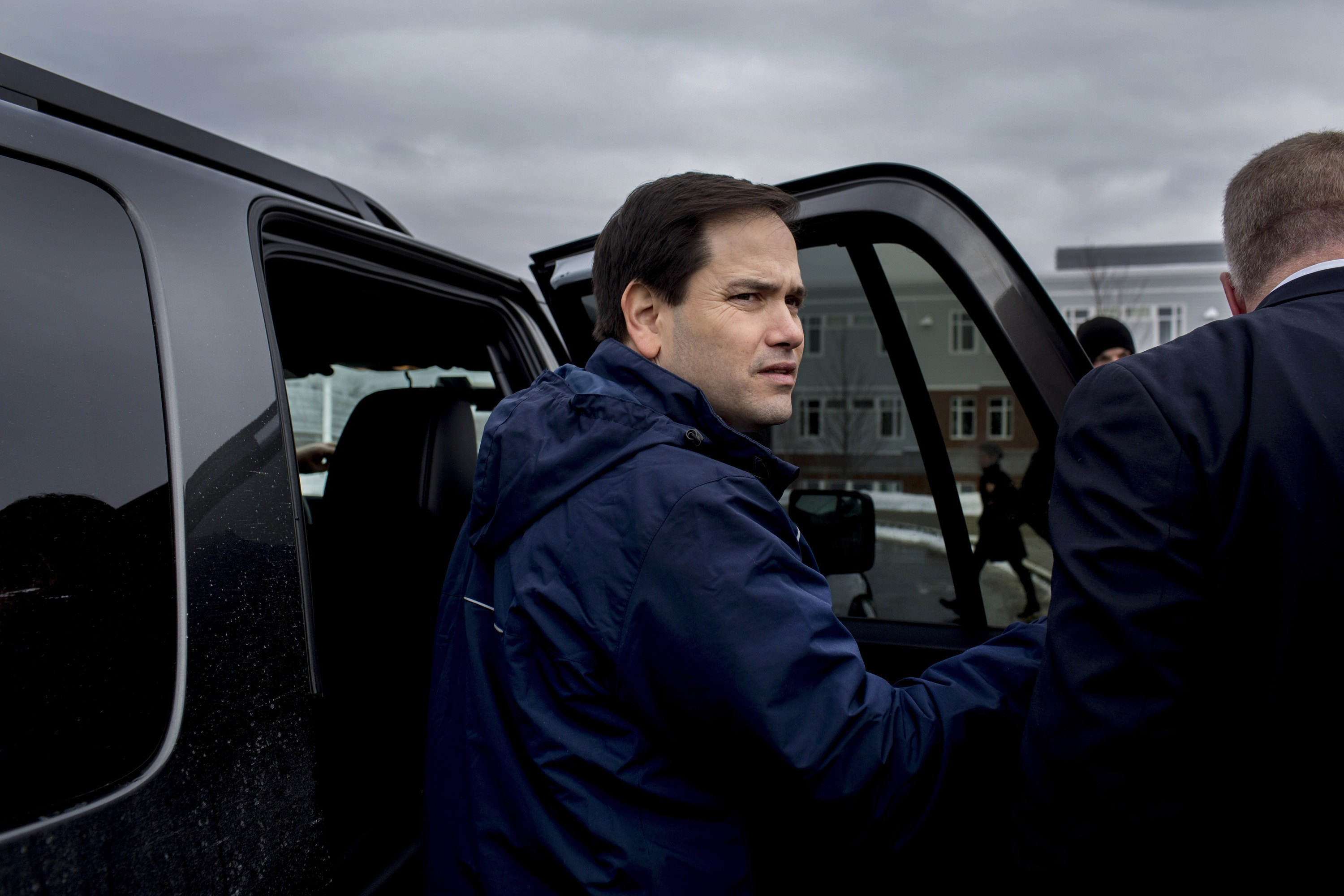 Republican presidential candidate Florida Sen. Marco Rubio greets supporters outside a polling a polling station located at Windham High School in Windham N.H., Feb. 9, 2016.