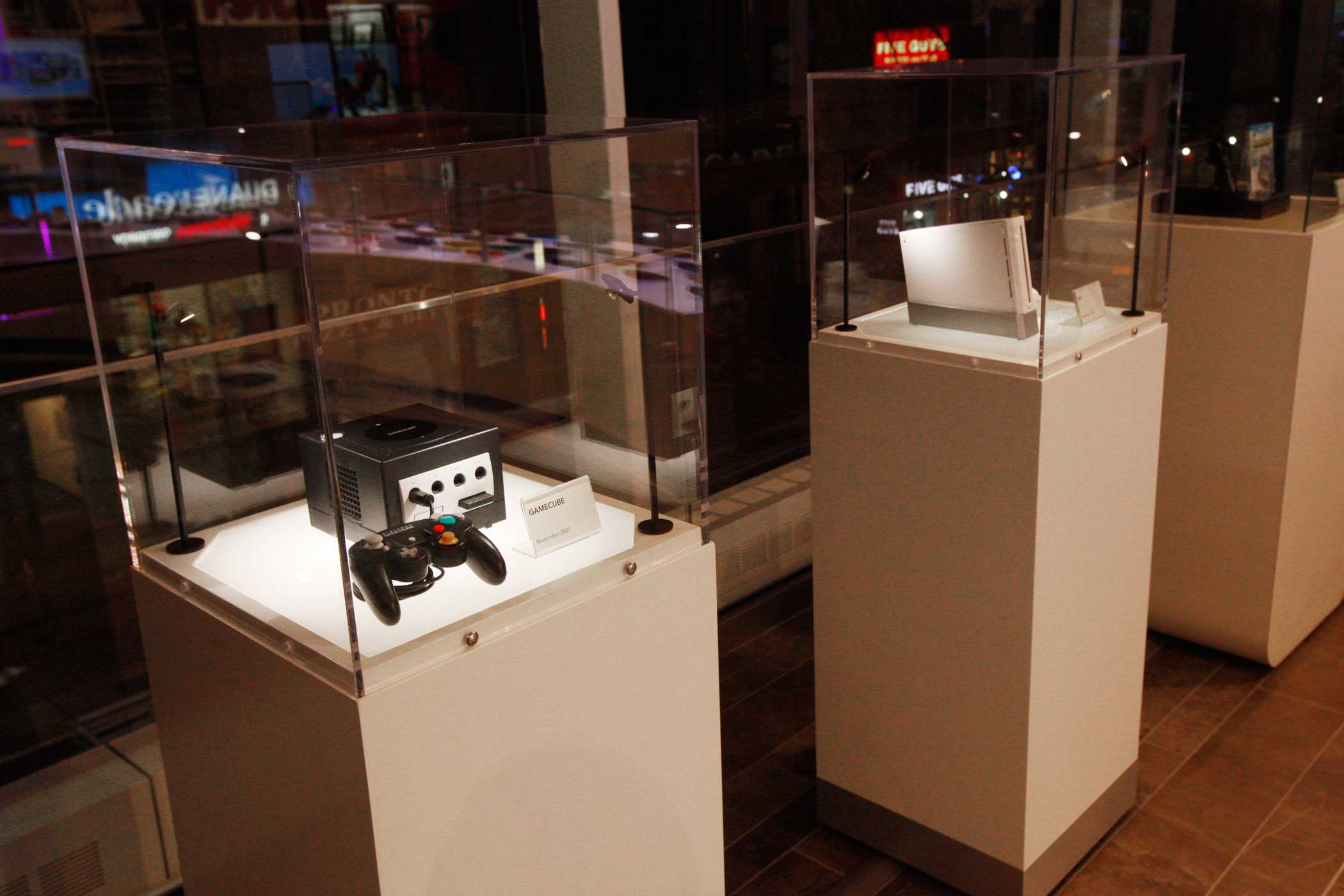 Each gaming system has its own display case.