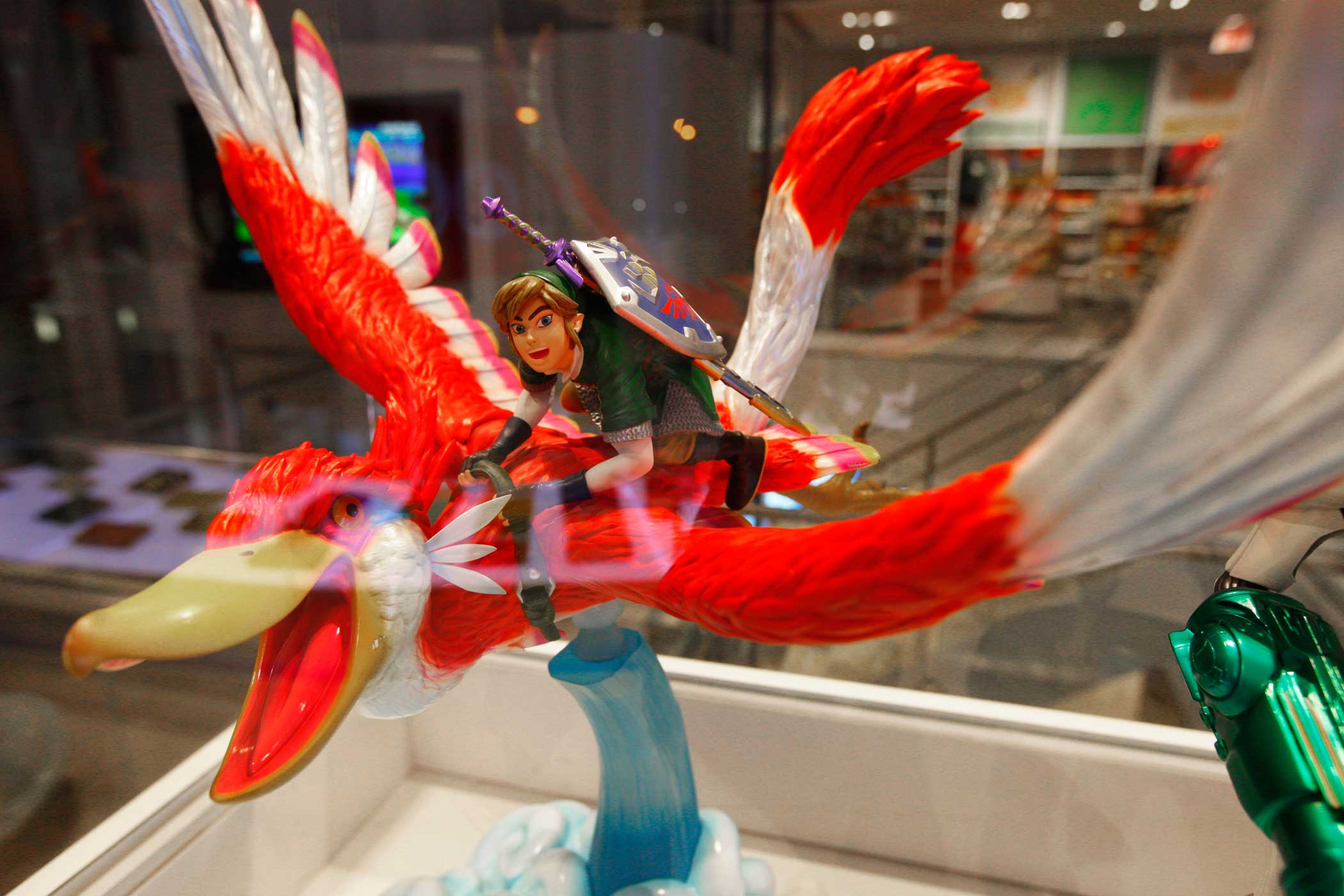 Detailed figurines are spread around the store.
