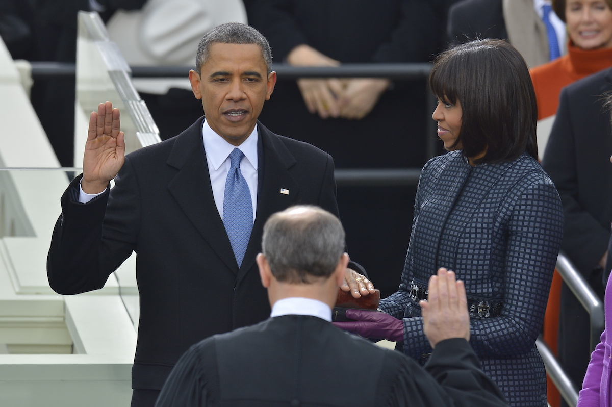President Barack Obama takes the oath of office at the United States Capitol on Jan.  21, 2013.