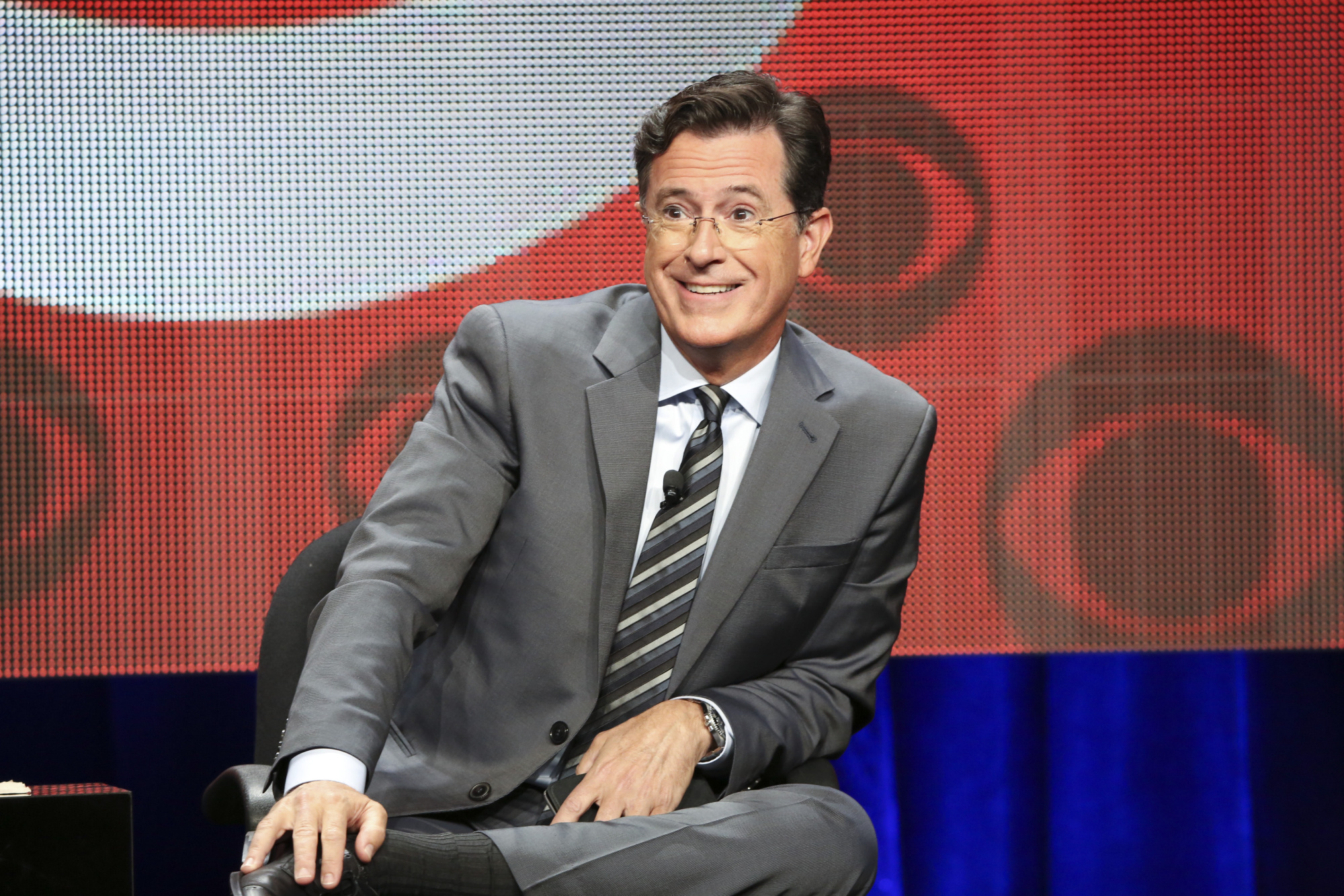 Stephen Colbert, host of  The LATE SHOW with STEPHEN COLBERT  appears at the TCA Summer Press Tour 2015 on Monday August 10, 2015 at the Beverly Hilton hotel in Los Angeles, CA.