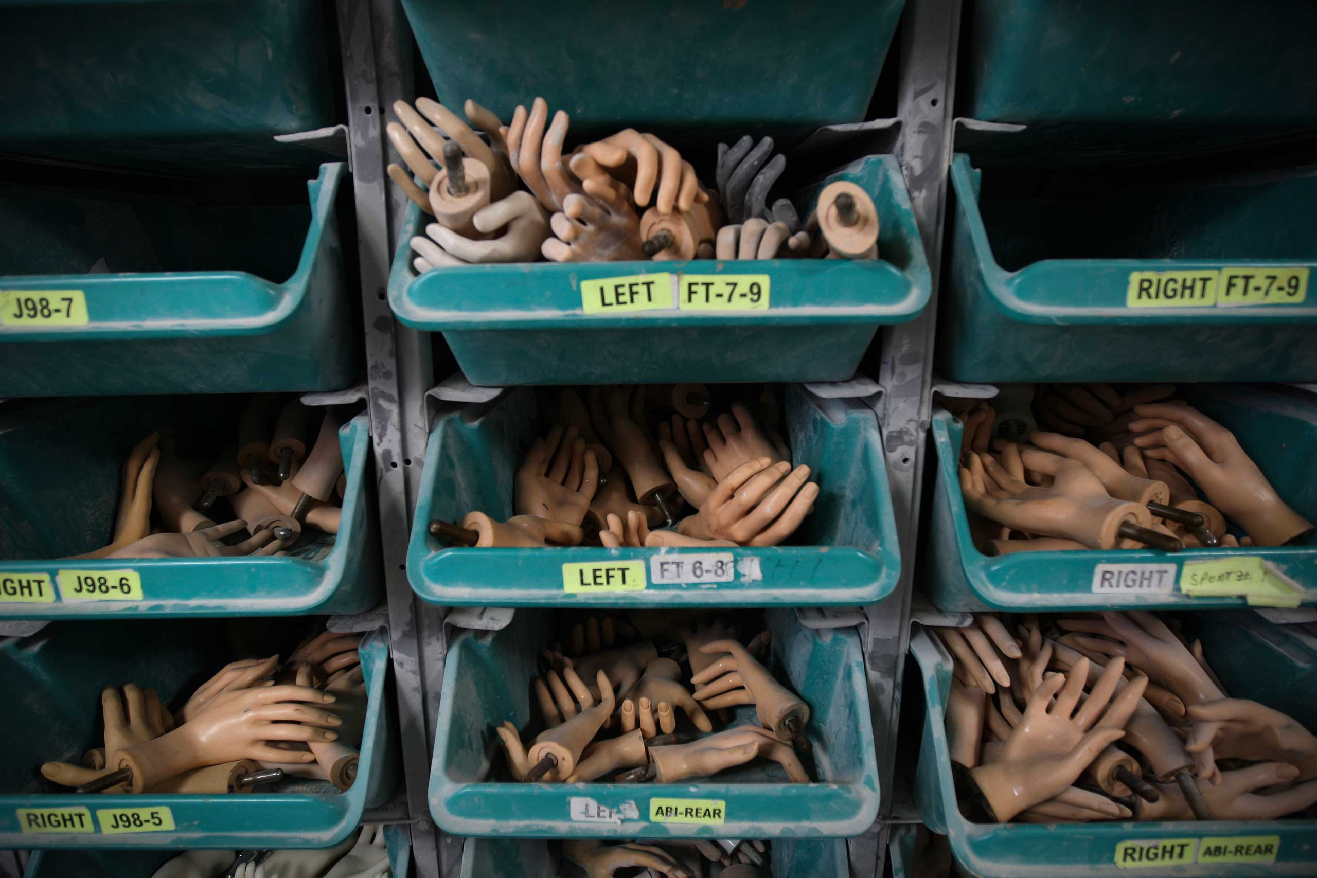 Mannequins hands stored in a drawers at the Goldsmith factory in New York.