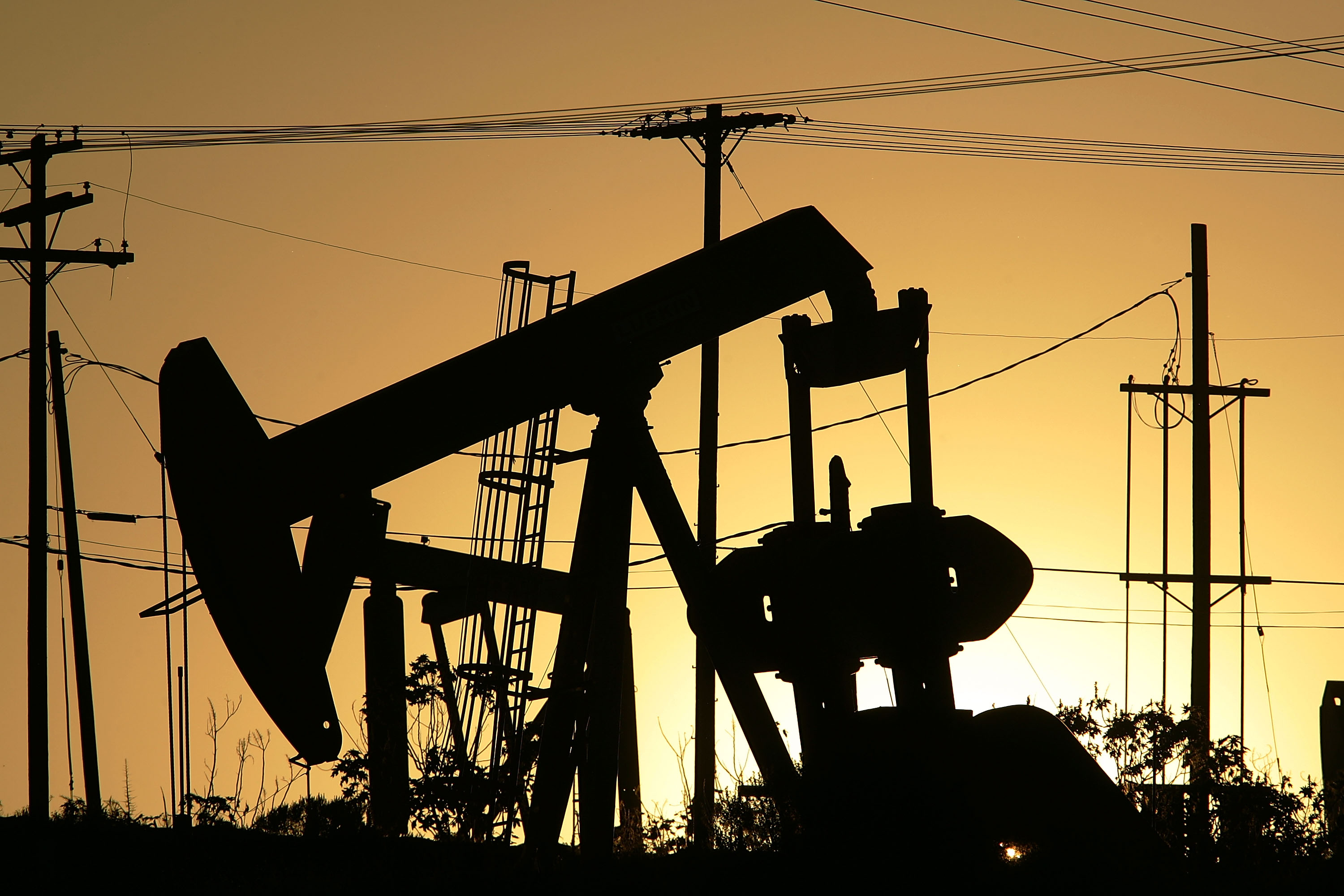 Oil rigs extract petroleum on April 25, 2008 in the Los Angeles area community of Culver City, California.