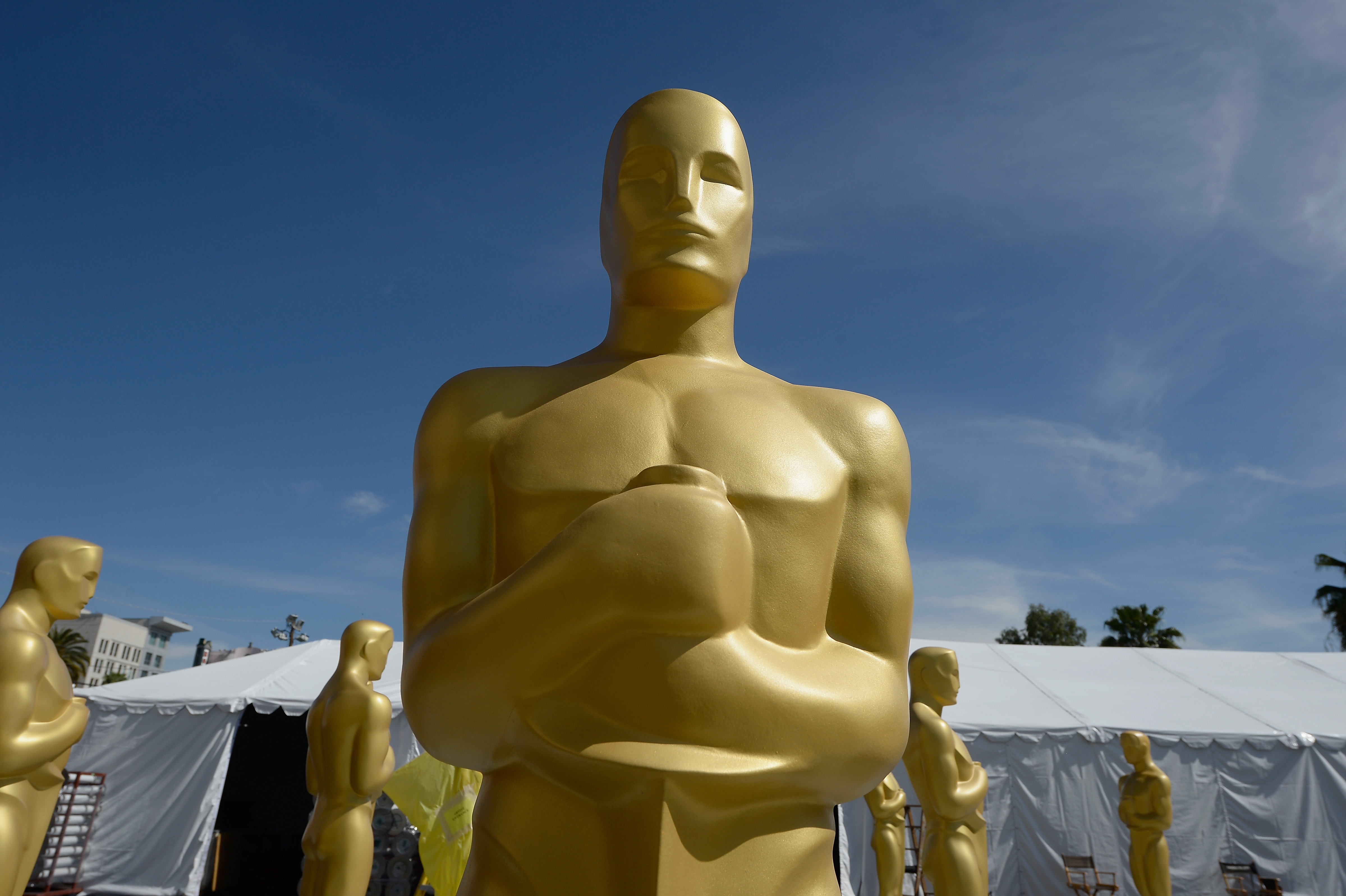 An Oscar statue is seen as preparations continue for the 88th Annual Academy Awards on Feb. 23, 2016 in Hollywood.
