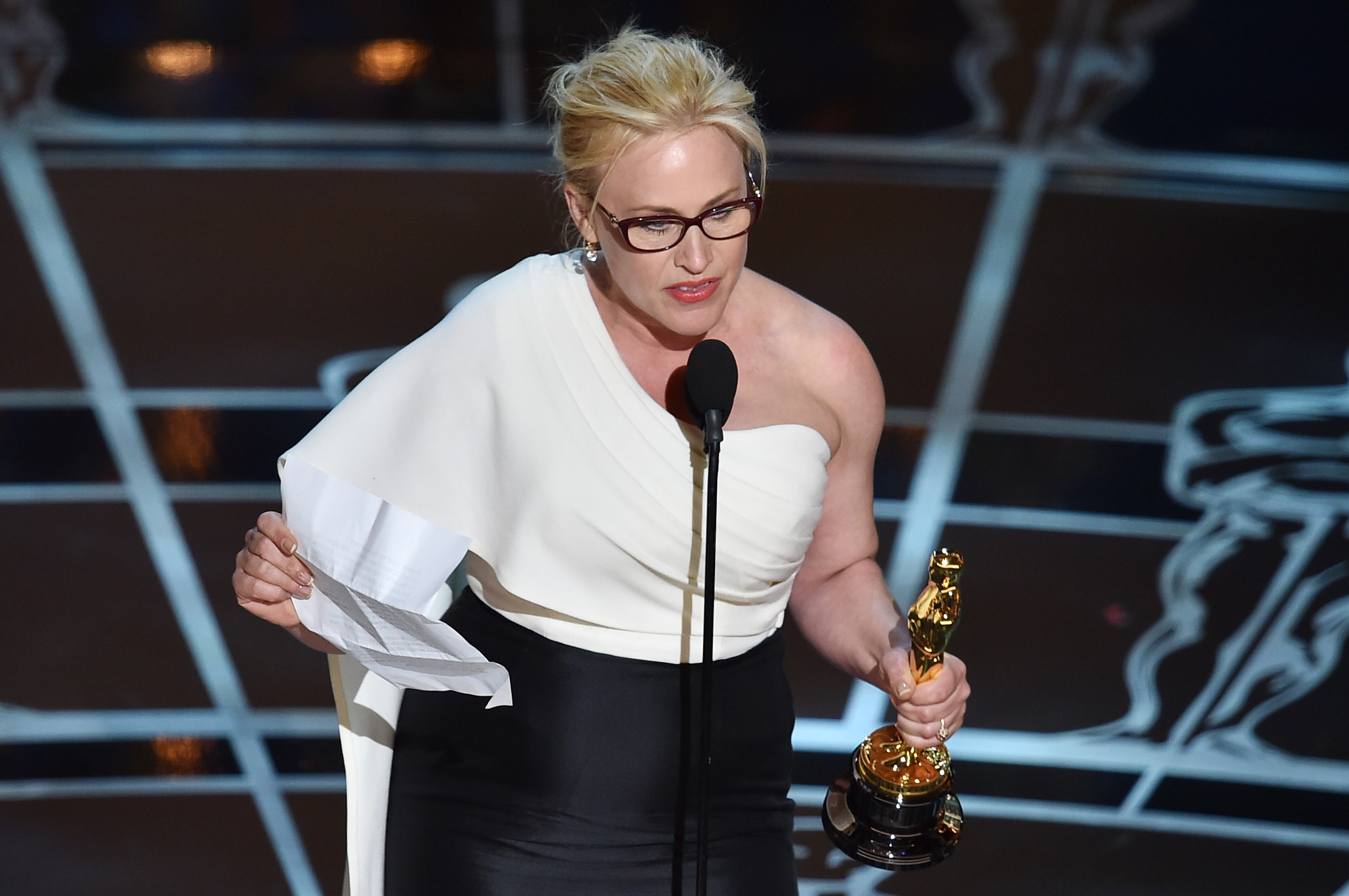 Patricia Arquette accepts the award for Best Actress in a Supporting Role for 'Boyhood' during the 87th Annual Academy Awards on February 22, 2015 in Hollywood, California.