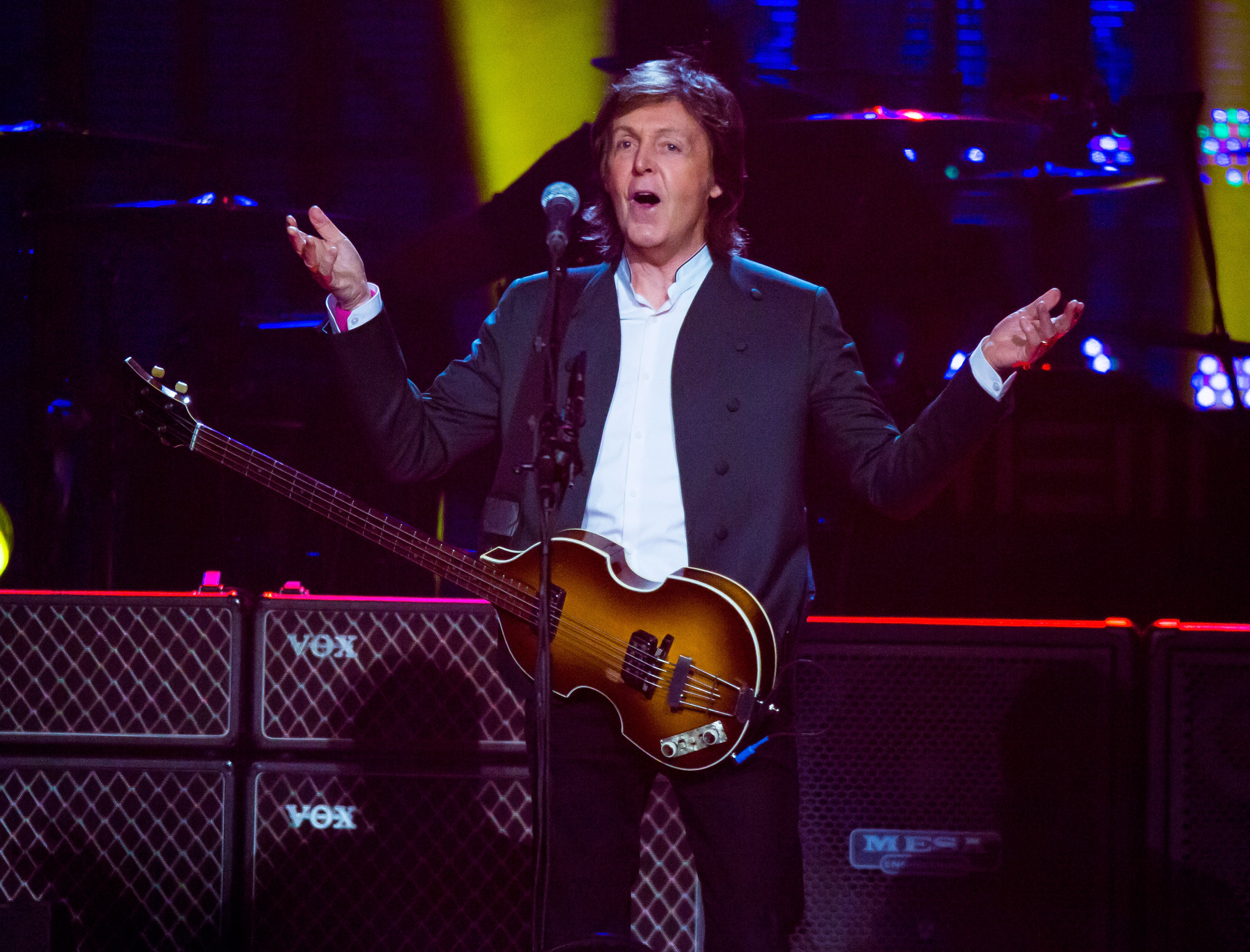 Sir Paul McCartney performs during the U.S. 'Out There' tour at Joe Louis Arena on October 21, 2015 in Detroit, Michigan.