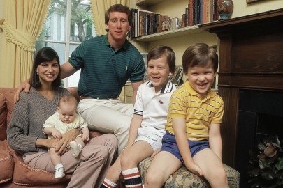 A 1981 family portrait shows New Orleans Saints quarterback Archie Manning, center, with wife Olivia and sons, from left, Eli, Cooper, and Peyton at their home in New Orleans.