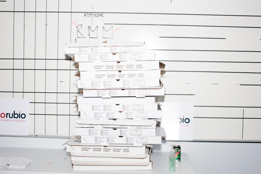 Pizza boxes are stacked in the campaign headquarters of Republican presidential candidate Marco Rubio in Manchester, New Hampshire. Rubio finished 5th in the primary, a disappointing finish after his strong placing in the Iowa caucus a week earlier.