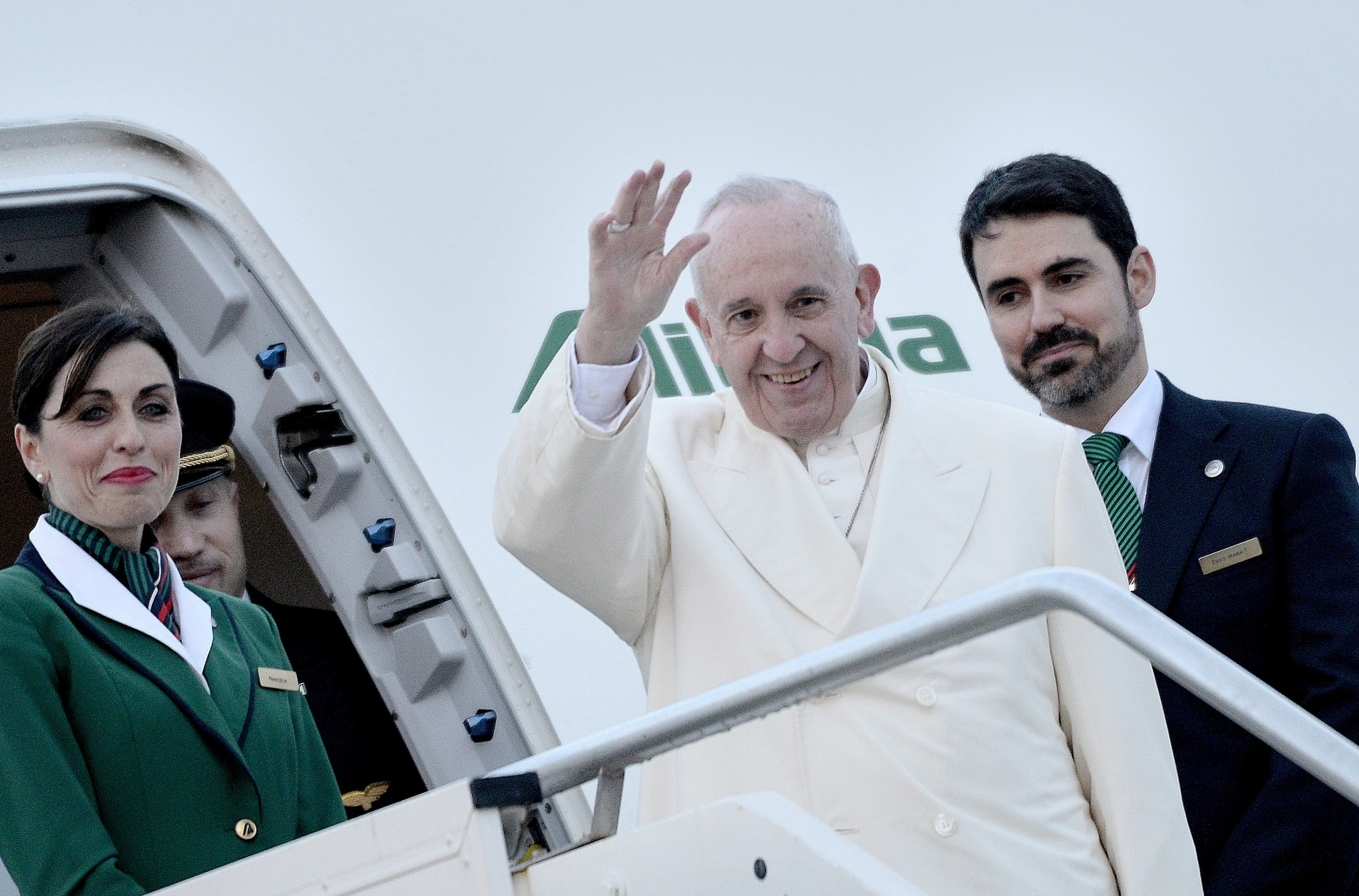 Pope  Francis at Rome's Fiumicino airport on his way to Mexico for a week-long trip, on Feb. 12, 2016. He is scheduled to stop in Cuba for an historical meeting with Russian Orthodox Patriarch Kirill.