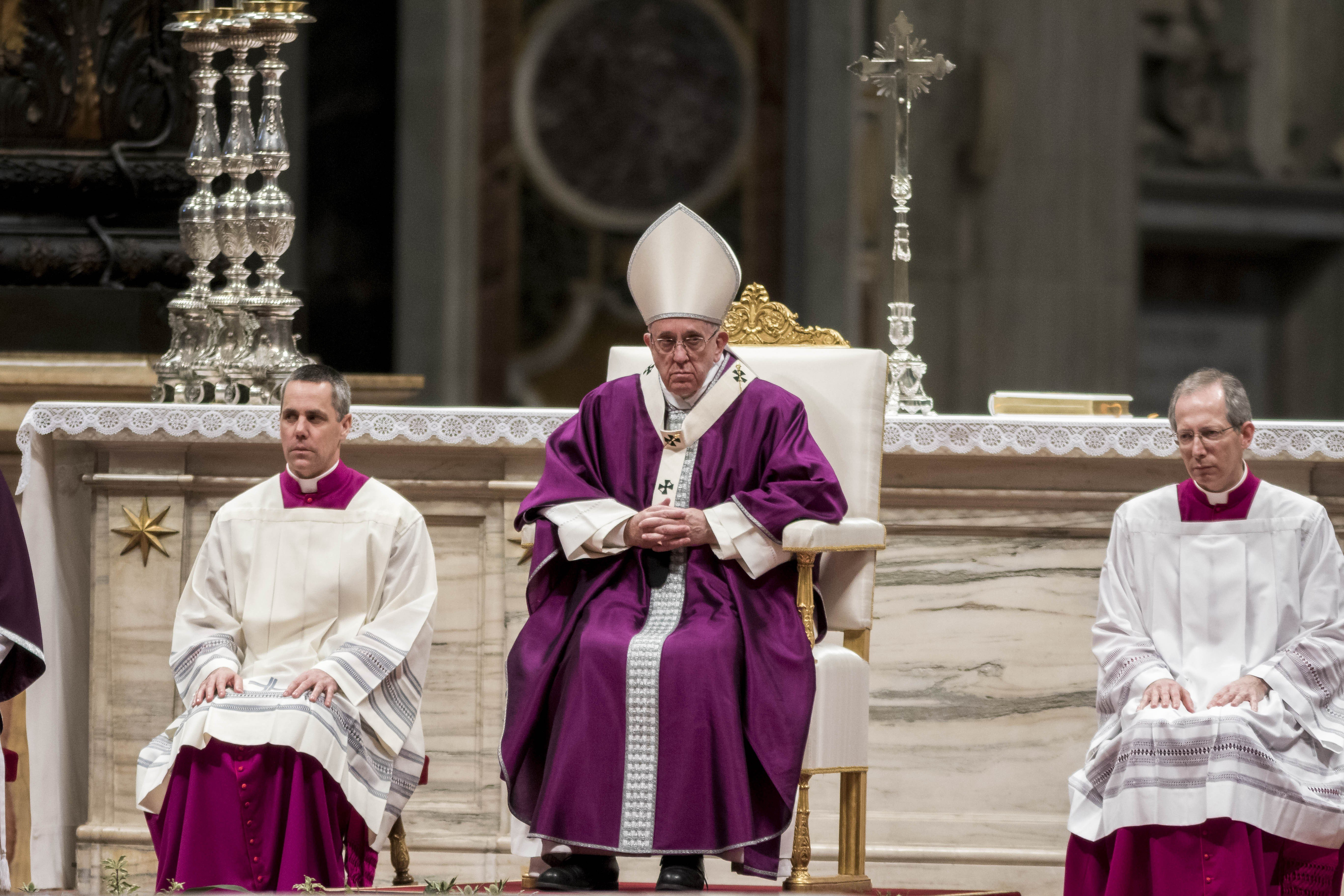 Pope Francis leads the Ash Wednesday mass in St. Peter's Basilica at the Vatican on Feb. 9, 2015.