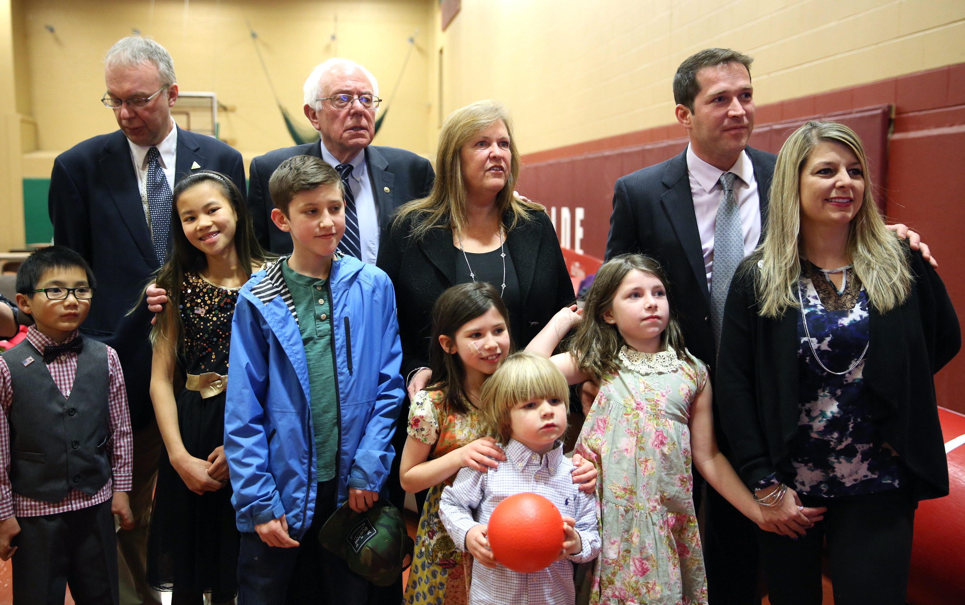 Vermont Sen. Bernie Sanders watches primary returns with his family on election night in Concord, N.H.,on Feb. 9, 2016.