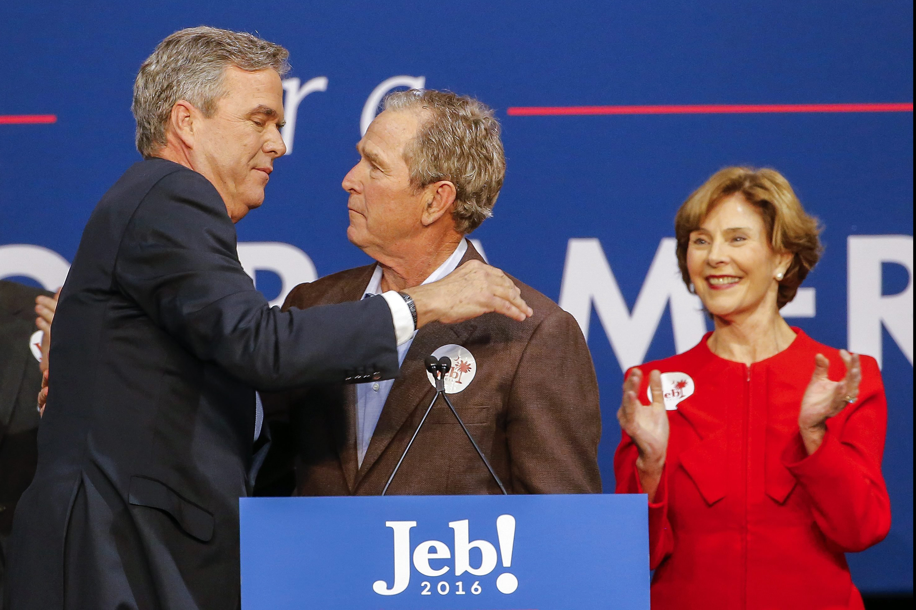Former Republican presidential candidate Jeb Bush participates in a campaign event with his brother, former President George W. Bush and former First Lady Laura Bush in North Charleston, S.C. on Feb. 15, 2016.  Bush dropped out of the presidential race on Saturday.