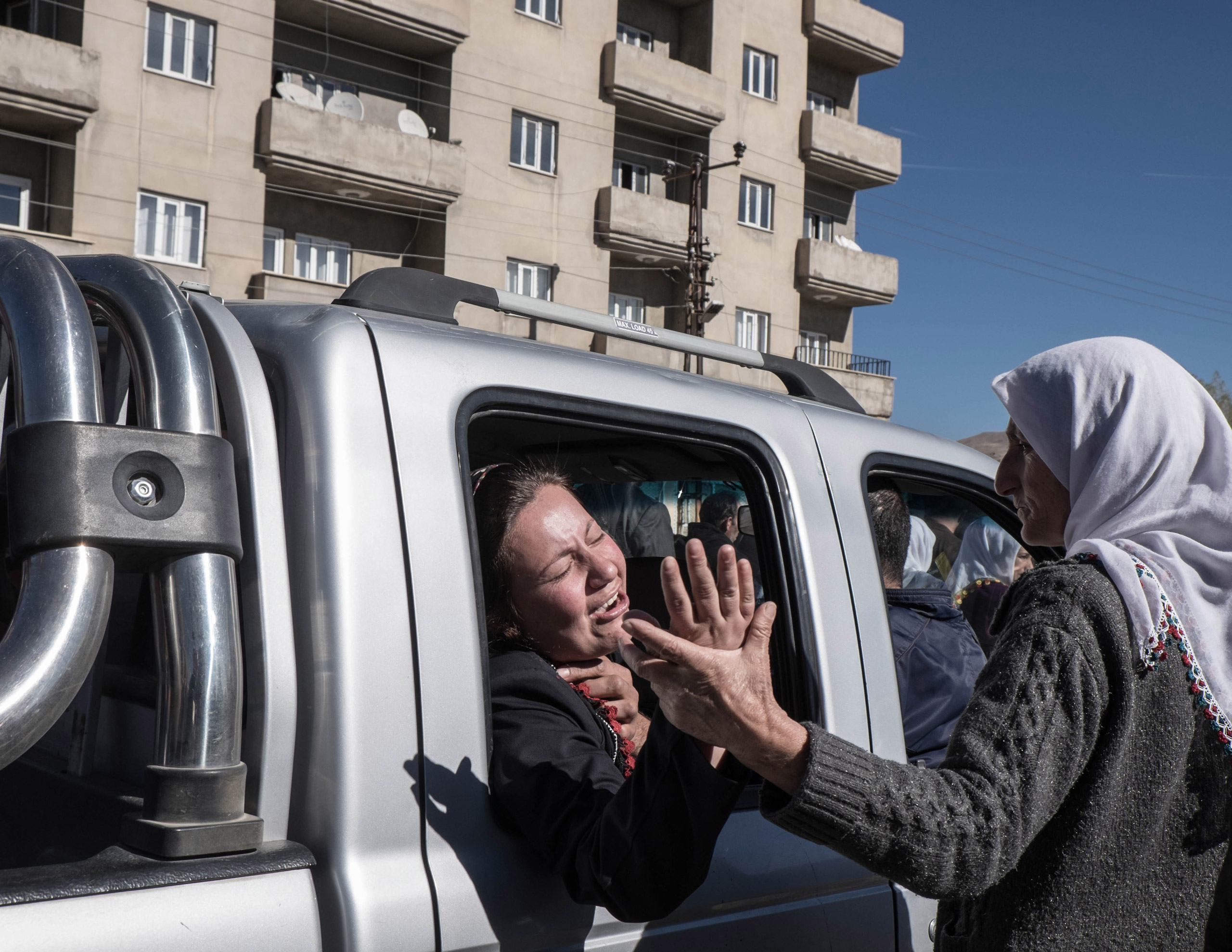 The funerals of Cetin Dara (18) and Dogan Dogma (20), two young Kurds shot to death by a Turkish sniper during a clash in Cumhuriyet, a self declared autonomous neighborhood in Yuksekova, Turkey, on Nov. 3, 2015. Clashes broke out after the police tried to enter into the neighborhood in the early morning.