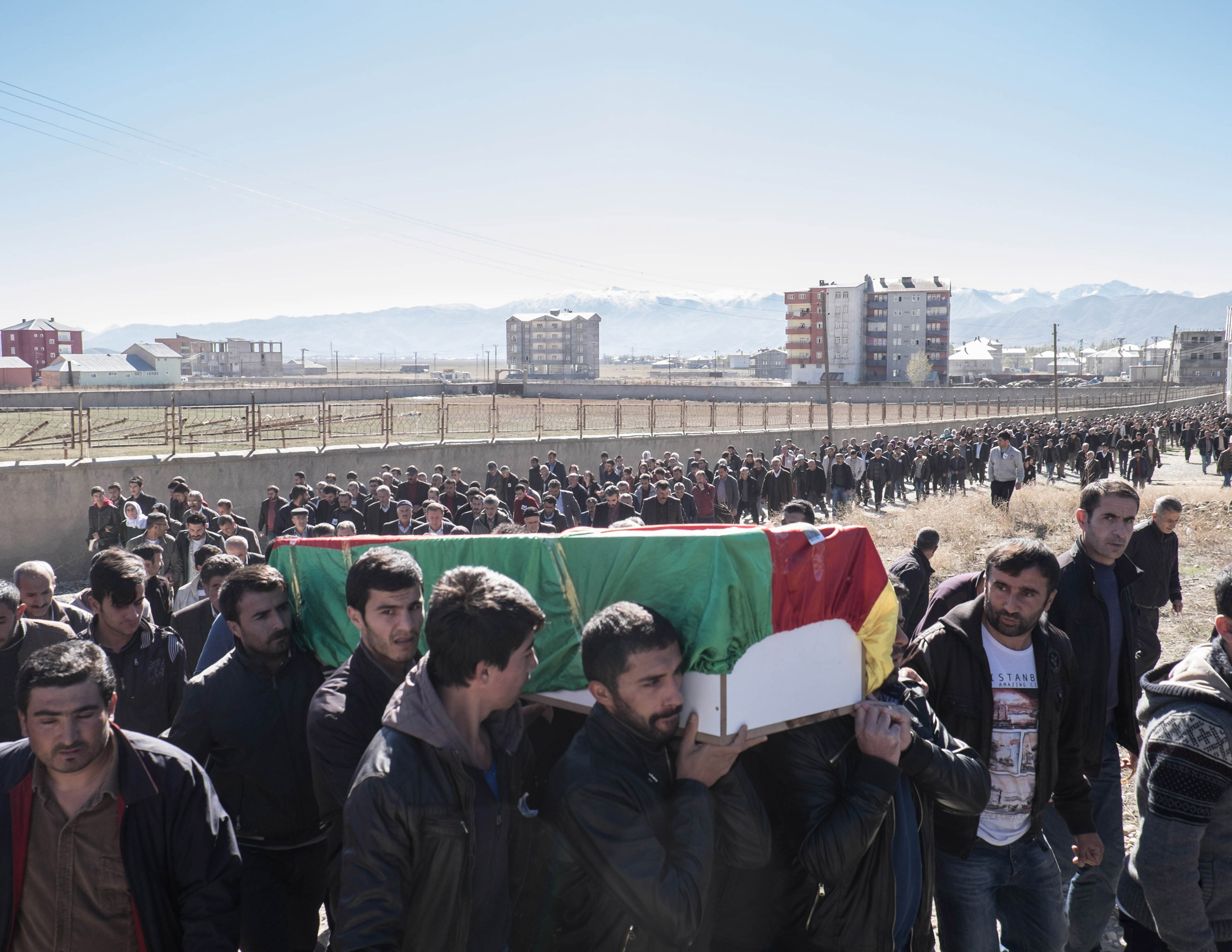 The funerals of Cetin Dara (18) and Dogan Dogma (20), two young Kurds shot to death by a Turkish sniper during a clash in Cumhuriyet, a self declared autonomous neighborhood in Yuksekova, Turkey, on Nov. 3, 2015.