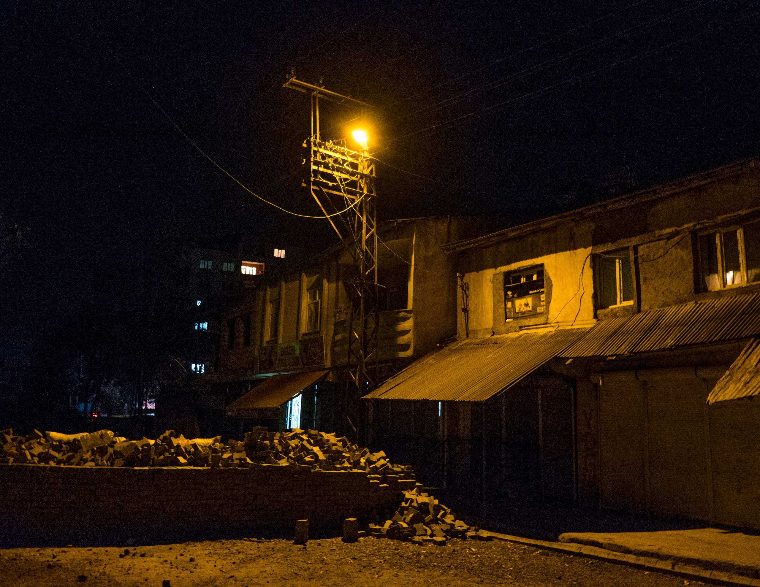 Barricades in Cumhuriyet, a self declared autonomous neighborhood in Yuksekova, Turkey, on Nov. 3, 2015.