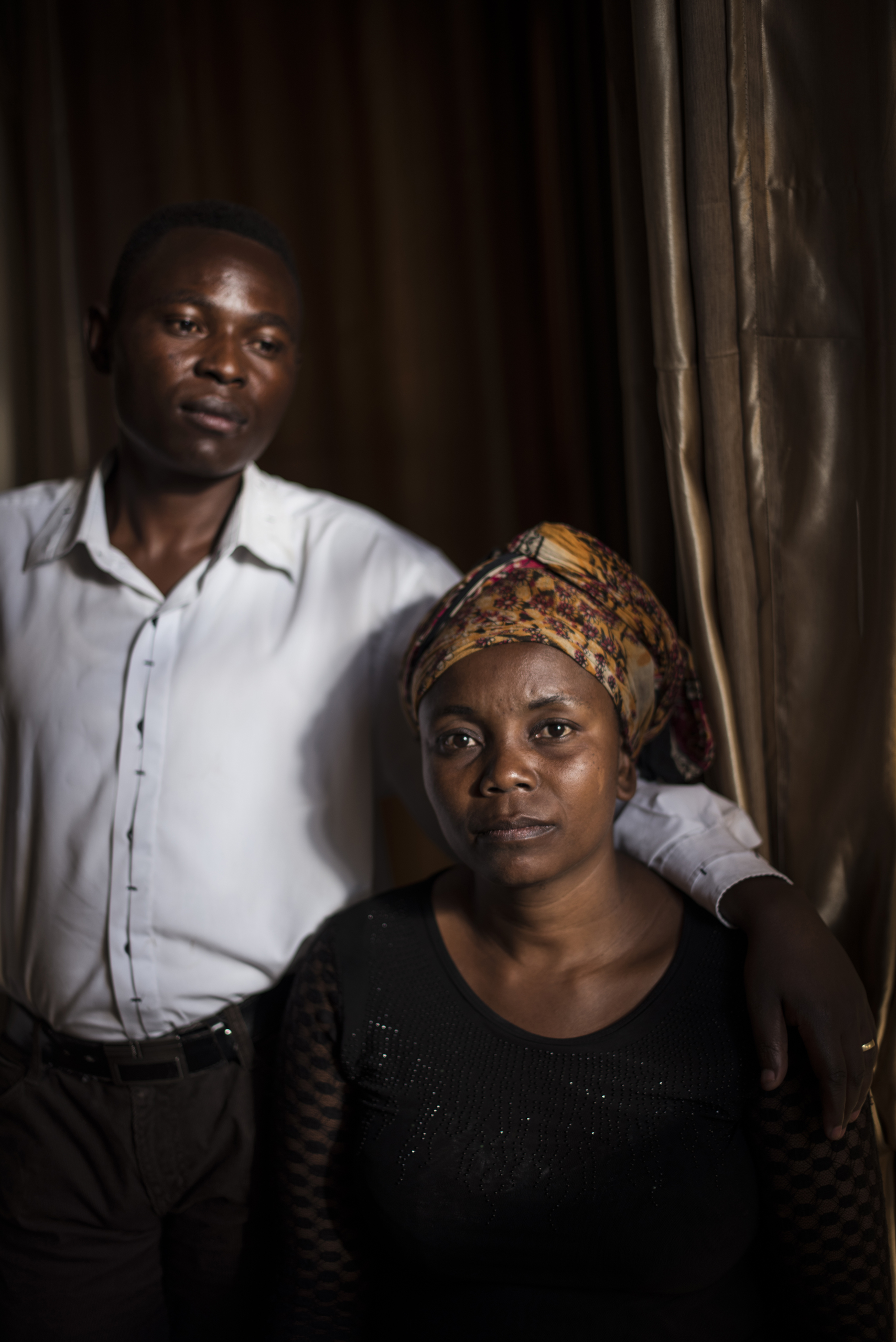 Kyalu Katentula, 40, and her husband, Abby Tagalog, 38, pose for a portrait in Goma, the Democratic Republic of Congo, Dec. 6, 2015.  After Kyalu was raped, she was rejected by her husband. They were brought back together by an NGO that fosters dialogue between couples and teaches that  women are not at fault for their rape.
