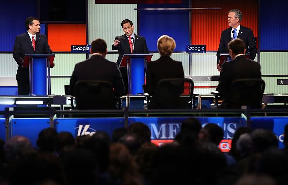 Republican presidential candidates (R-L) Jeb Bush, Sen. Marco Rubio (R-FL) and Sen. Ted Cruz (R-TX) participate in the Fox News - Google GOP Debate January 28, 2016 at the Iowa Events Center in Des Moines, Iowa.