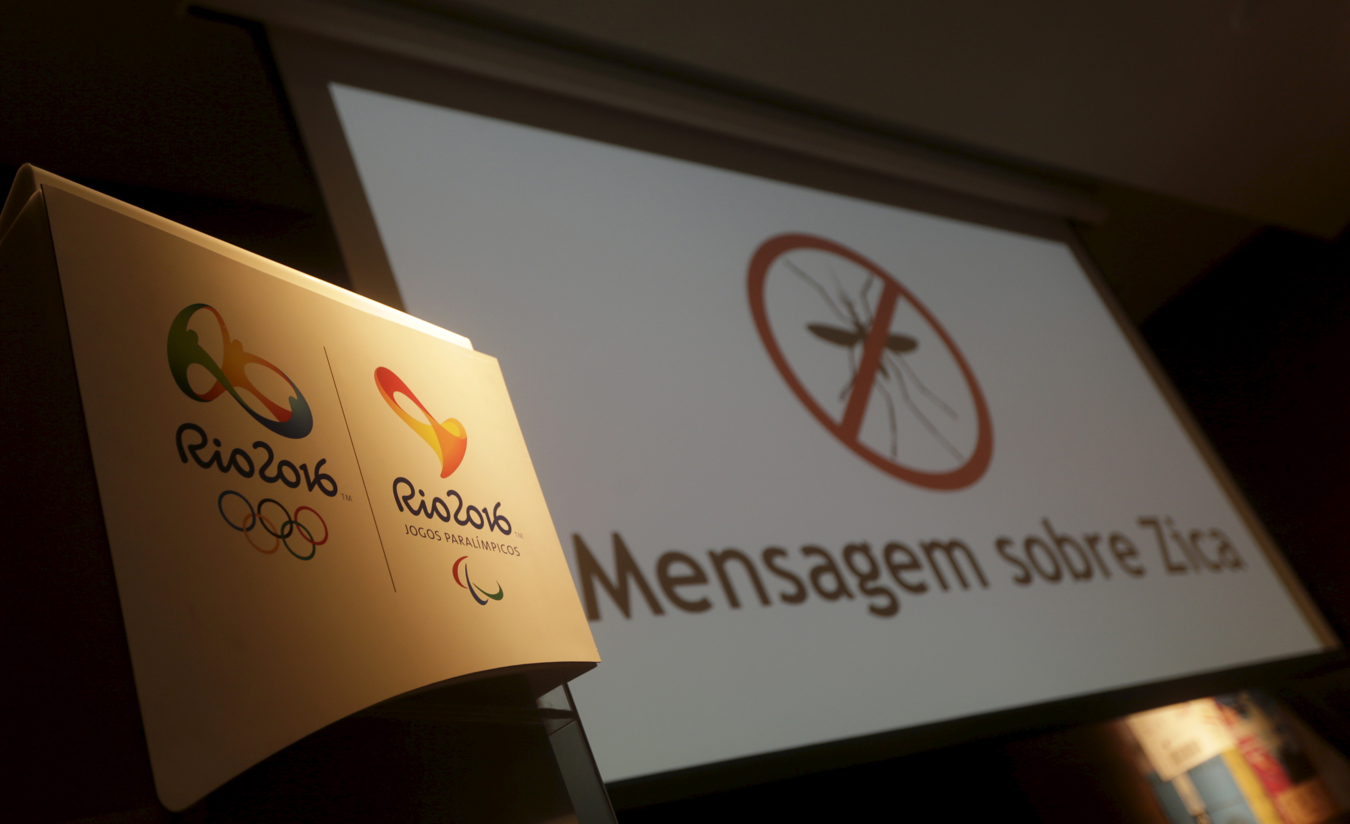 The logos of the Rio 2016 Olympic Games and Rio 2016 Paralympic Games are pictured next to a message on a screen that reads  Message about Zika  during a media briefing in Rio de Janeiro, Brazil on Feb. 2, 2016.
