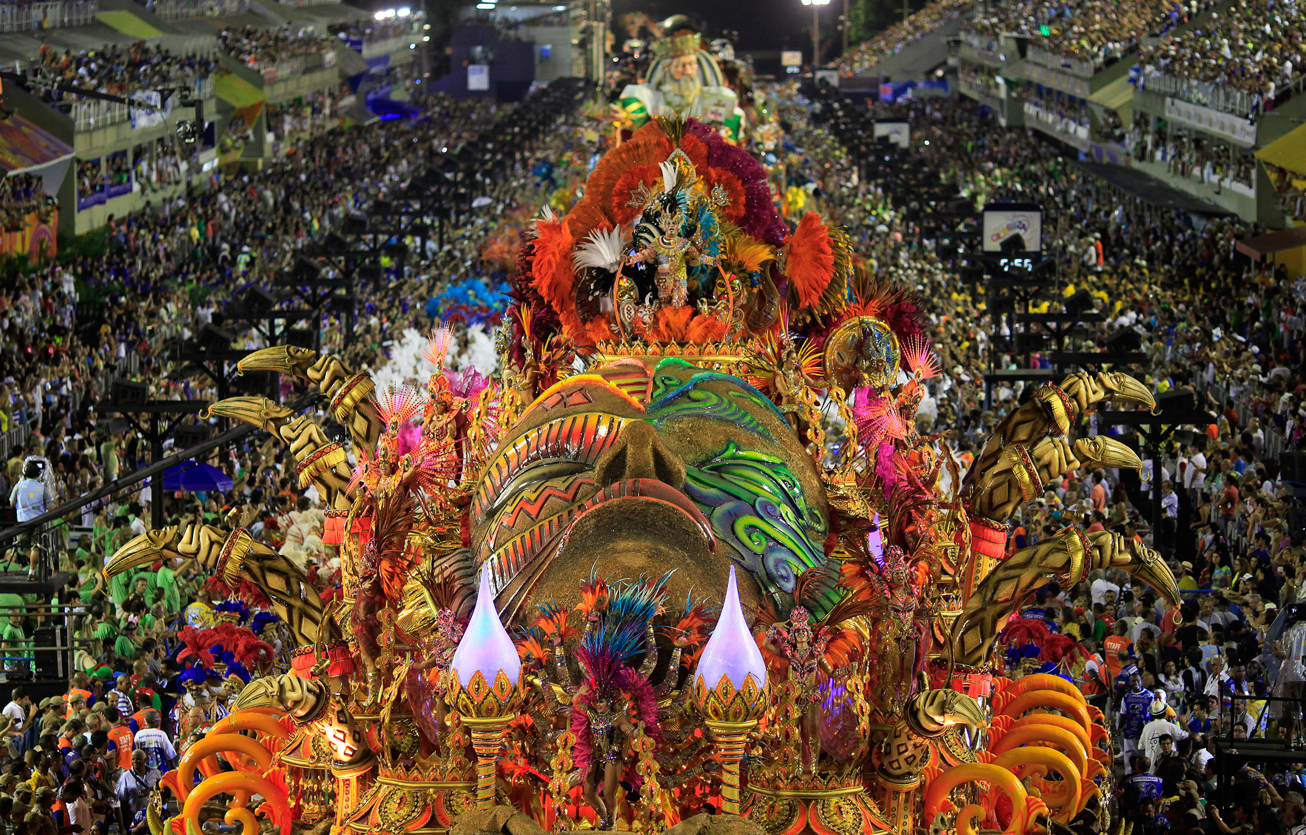 The Beija-Flor samba school parades during the Carnival in Rio de Janeiro on Feb. 17, 2015.