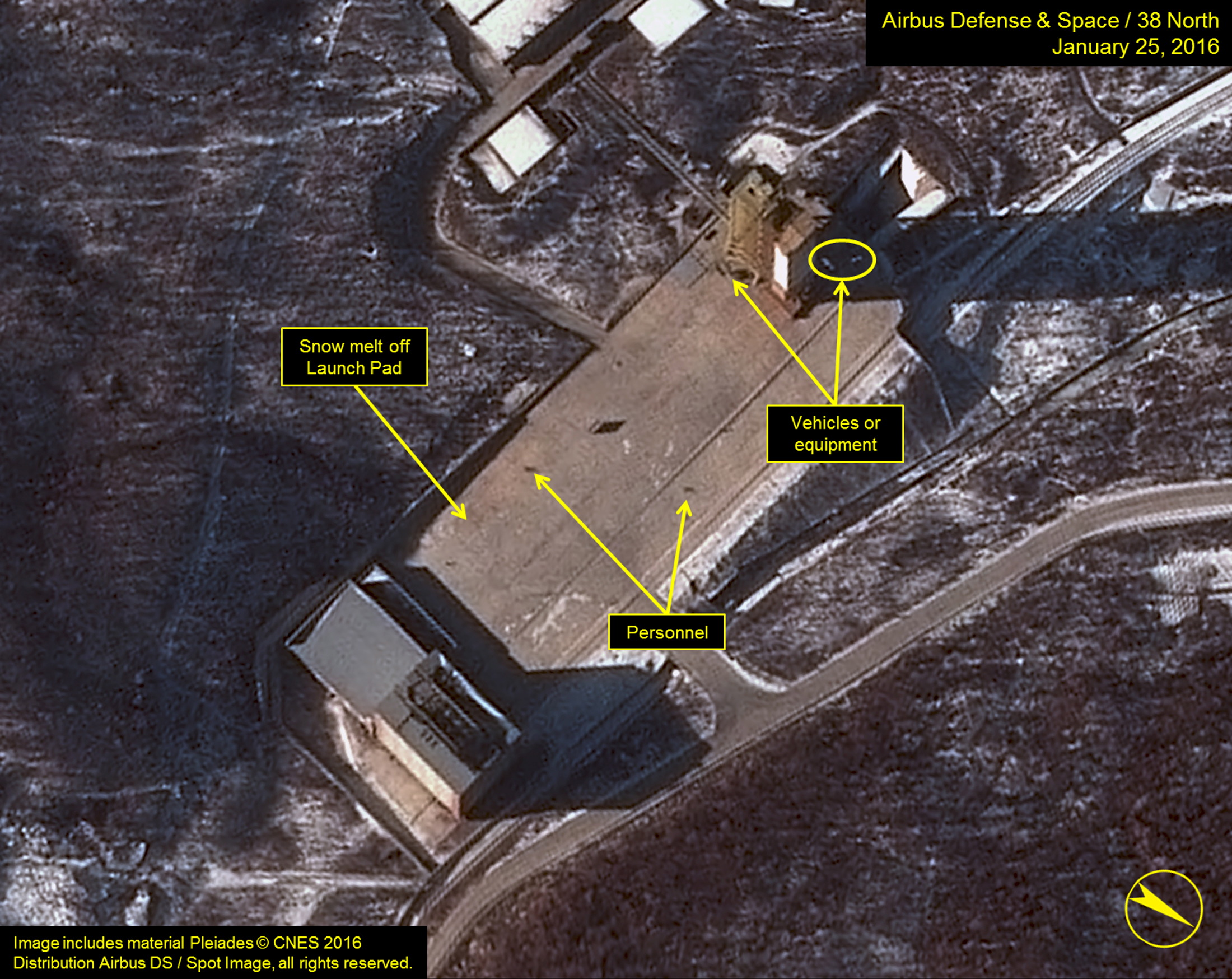 Airbus Defense satellite imagery dated Jan. 25, 2016, shows three objects at the base of the gantry tower that are either vehicles or equipment at Sohae Satellite Launching Station in North Korea