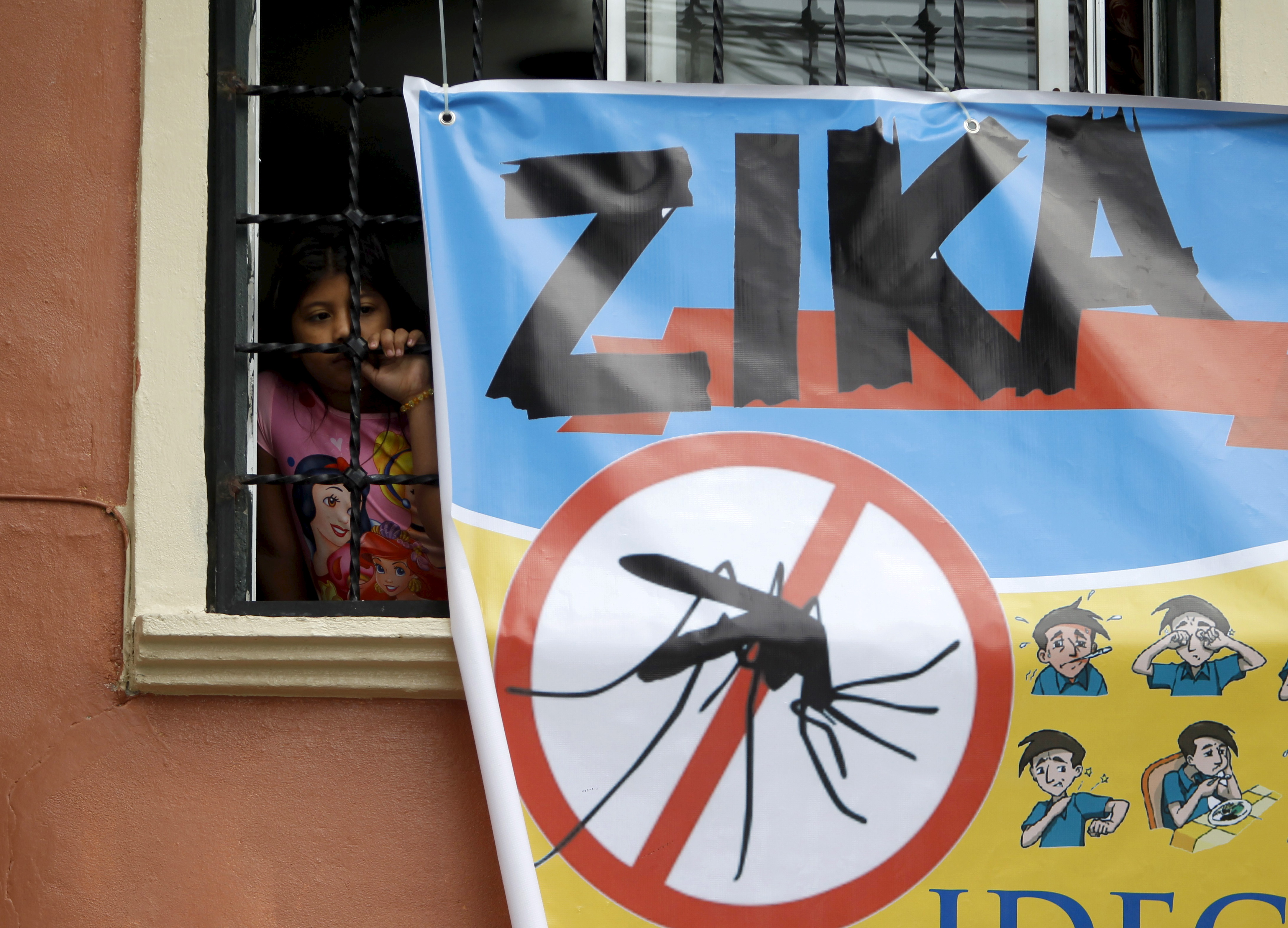 A woman looks on next to a banner as soldiers and municipal health workers take part in cleaning of the streets, gardens and homes as part of the city's efforts to prevent the spread of the Zika virus vector, the Aedes aegypti mosquito, in Tegucigalpa, Honduras, February 6, 2016.
