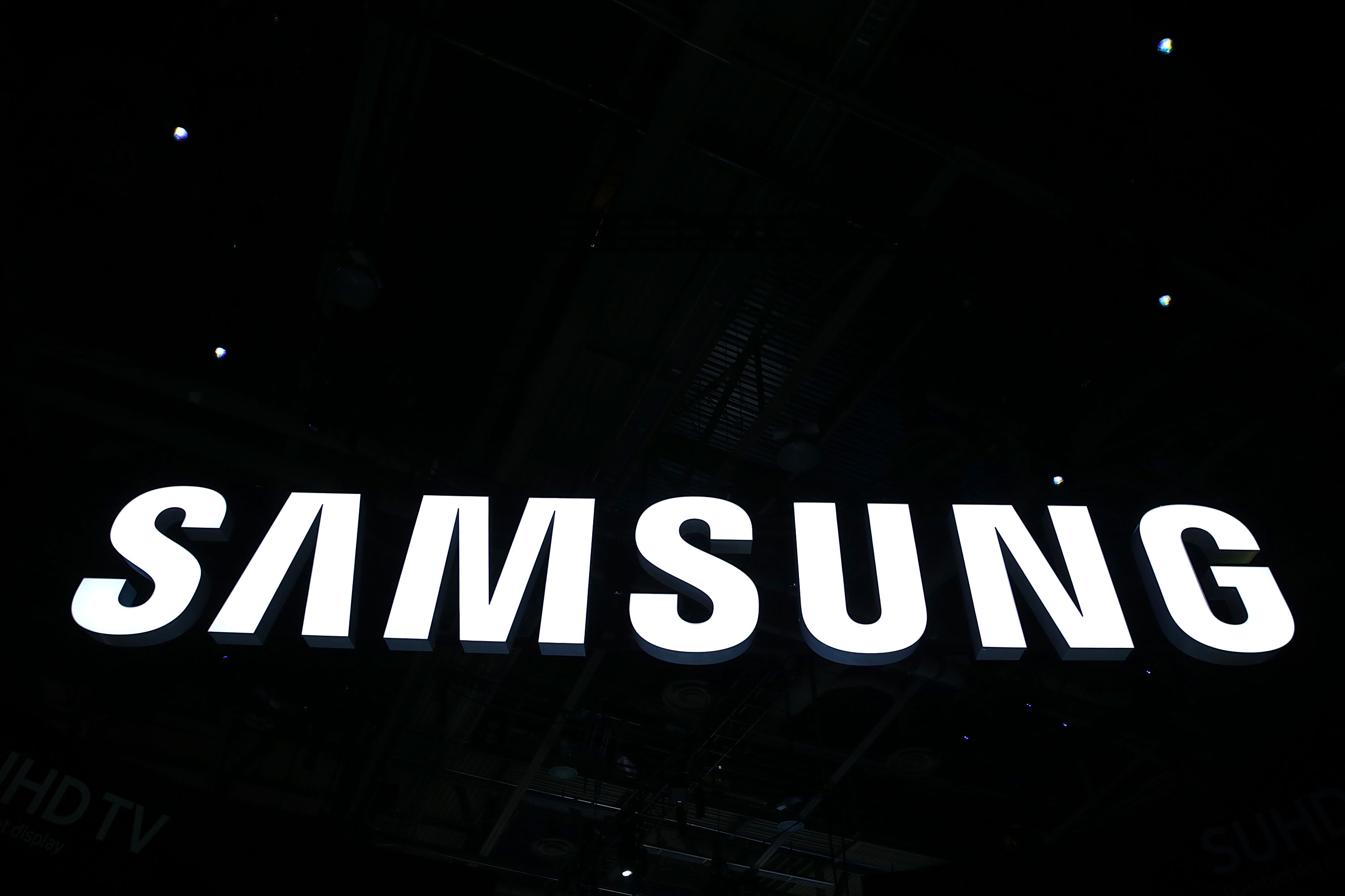 The Samsung logo is seen at CES 2016 at the Las Vegas Convention Center on January 6, 2016 in Las Vegas, Nevada.