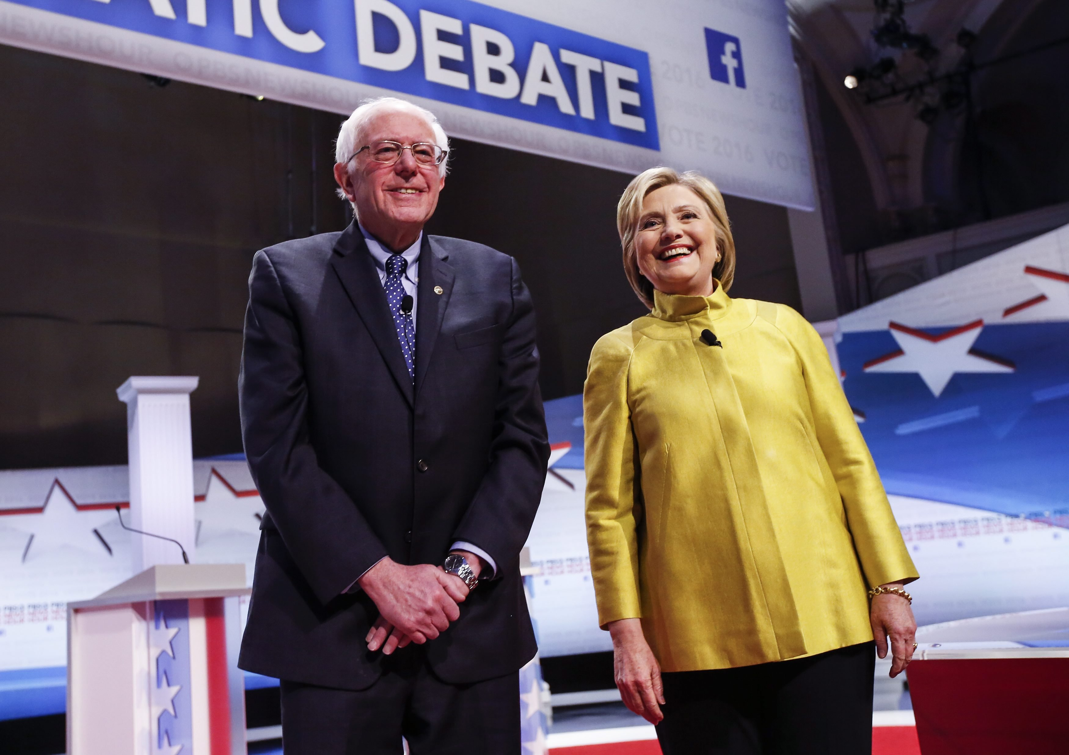 Bernie Sanders and Hillary Clinton participate in the PBS NewsHour Democratic debate in Milwaukee, Wisconsin on Feb. 11, 2016.