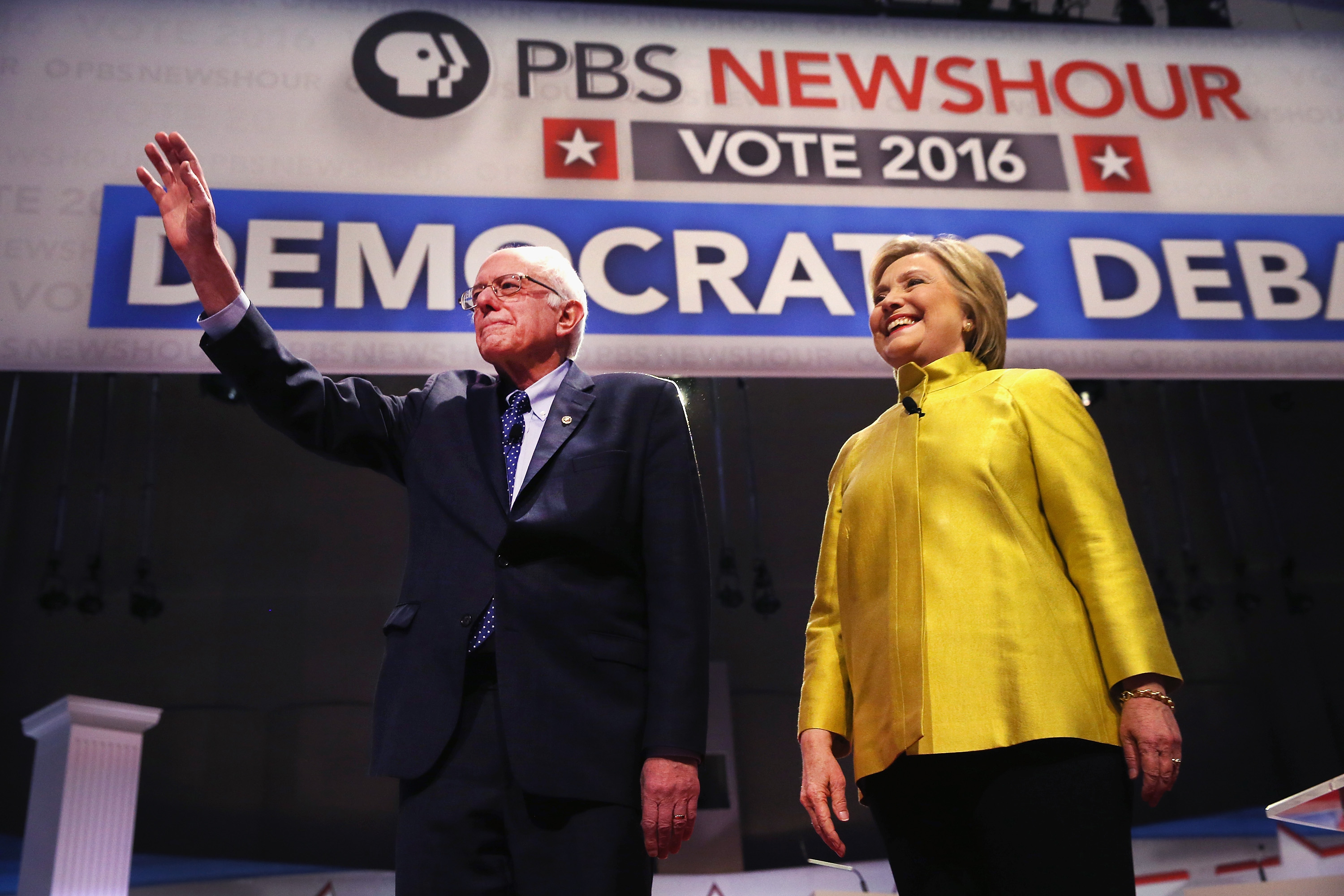 Bernie Sanders and Hillary Clinton during a candidate debate in Milwaukee, Wisconsin on Feb. 11, 2016.