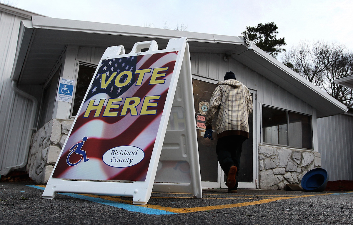 South Carolina voters dead to polls during the state's primary on Jan. 21, 2012, in Columbia, S.C.