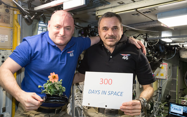 Scott Kelly and Mikhail Kornienko in space