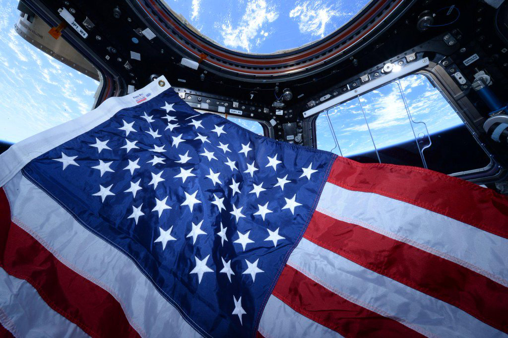 """Stars and stripes from @Space_Station. Happy #NationalFlagDay! #YearInSpace""<a href=""https://twitter.com/StationCDRKelly/status/610174470381268993/photo/1"" target=""_blank"">—via Twitter</a> on Jun. 14, 2015."