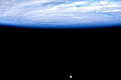 """""""#Jimena in the Pacific is a massive storm. Makes the moon look puny. #YearInSpace """" via Twitter on Aug. 30, 2015."""