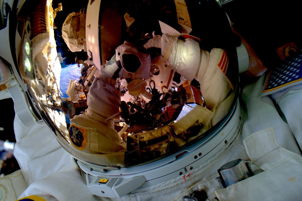 """#SpaceWalkSelfie Back on the grid! Great first spacewalk yesterday. Now on to the next one next week. #YearInSpace""<a href=""https://twitter.com/StationCDRKelly/status/659755675757715456"" target=""_blank"">—via Twitter</a> on Oct. 29, 2015."