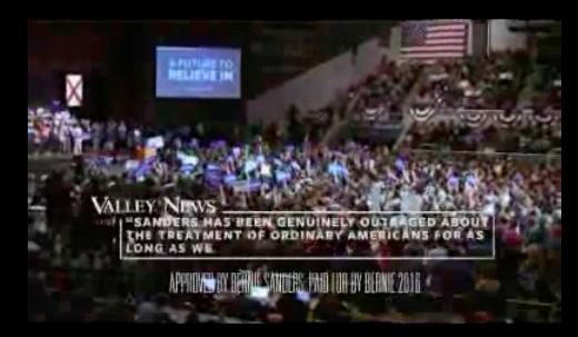 A screenshot from Bernie Sanders' New Hampshire advertisement
