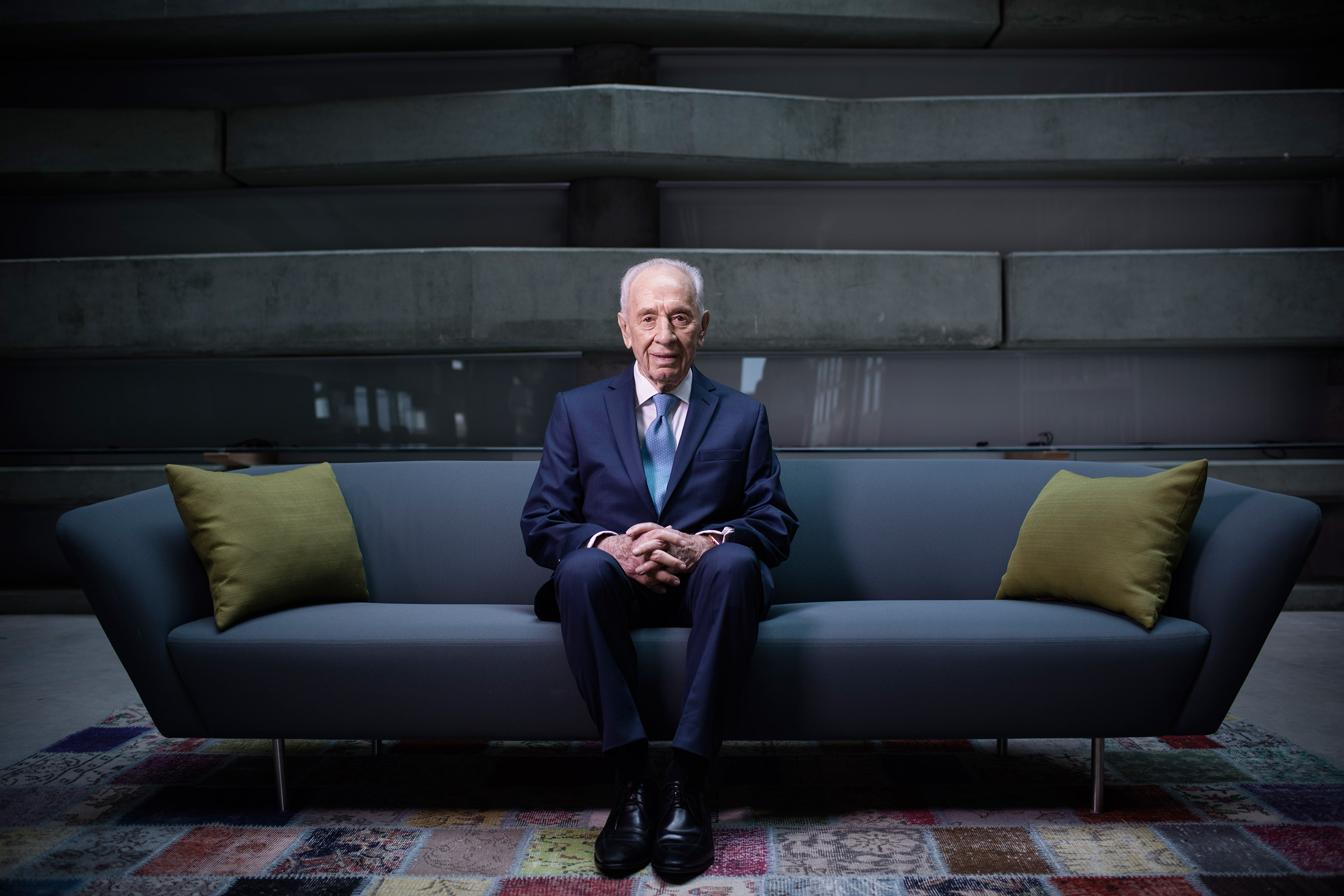 Peres sits for a portrait at the Peres Center for Peace in Tel Aviv-Jaffa, Israel, Feb. 8, 2016.