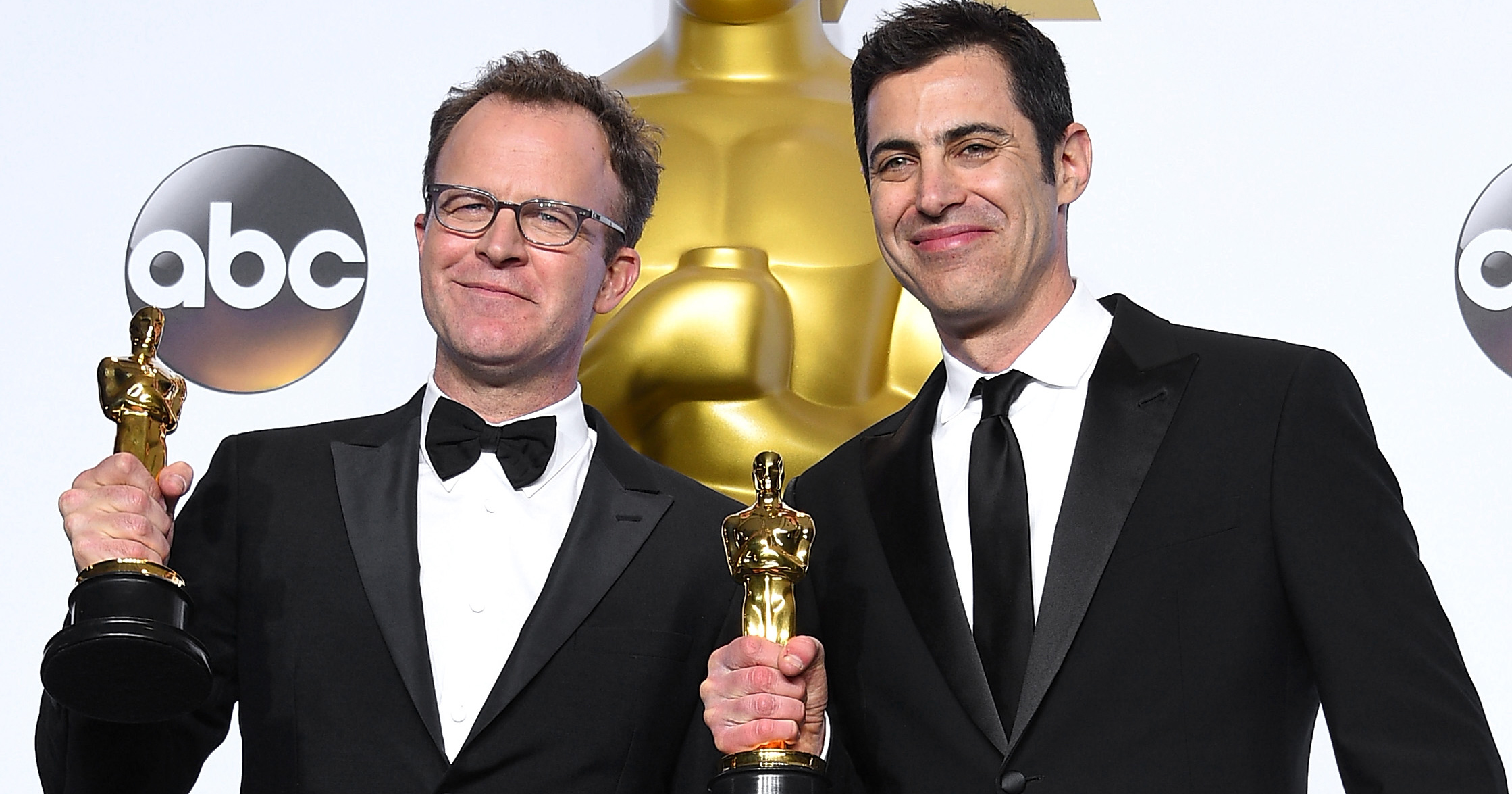 Tom McCarthy, left, and Josh Singer, right, on Feb. 28, 2016 in Hollywood, Calif.