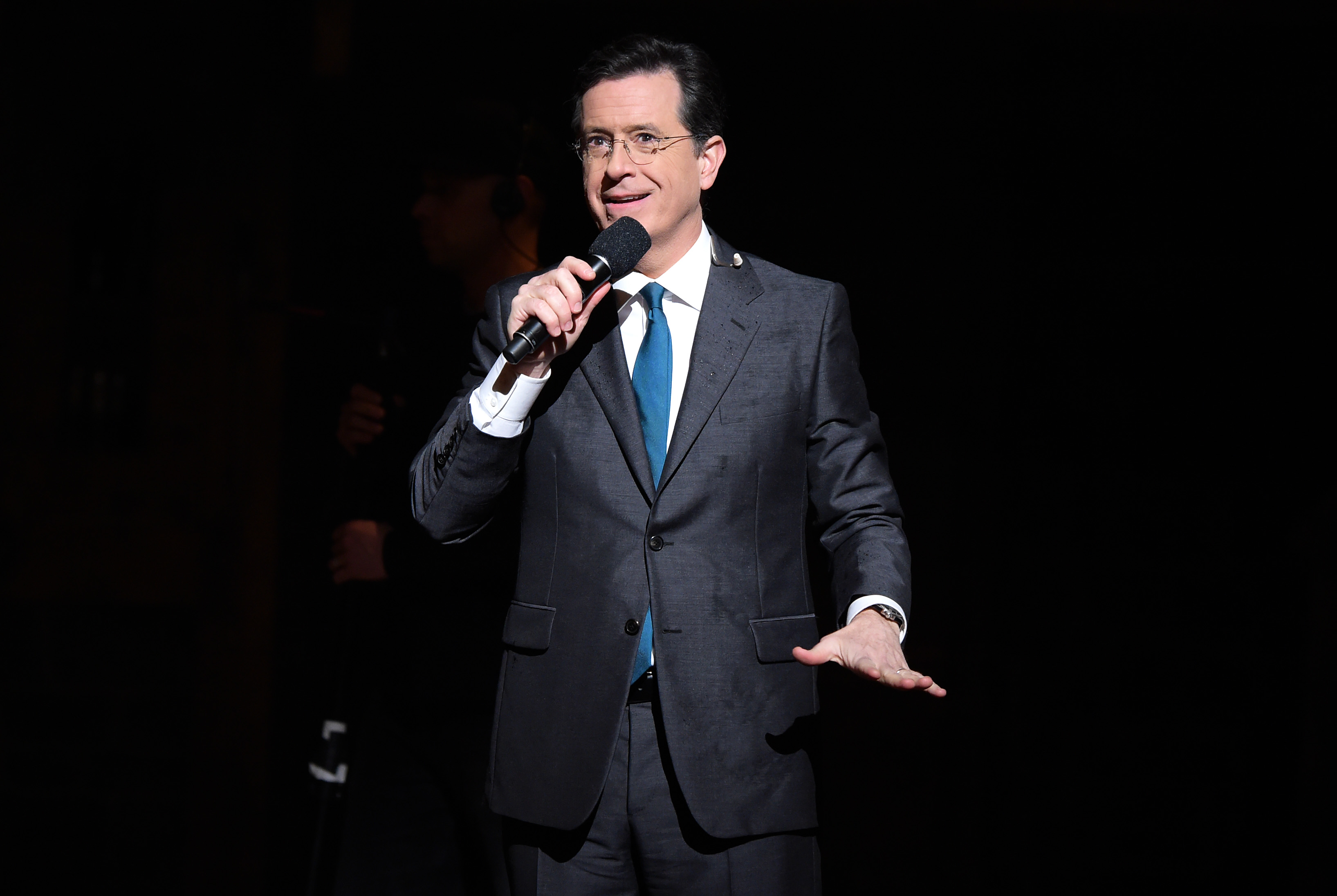 TV Host, comedian Stephen Colbert speaks on stage prior to  Hamilton  GRAMMY performance for The 58th GRAMMY Awards at Richard Rodgers Theater on February 15, 2016 in New York City.