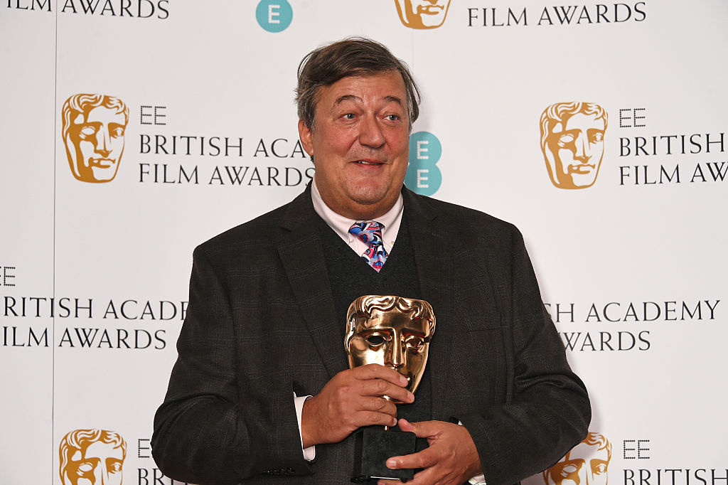 Stephen Fry attends the British Academy Film Awards nominations announcement at BAFTA Piccadilly on Jan. 8, 2016 in London, England.